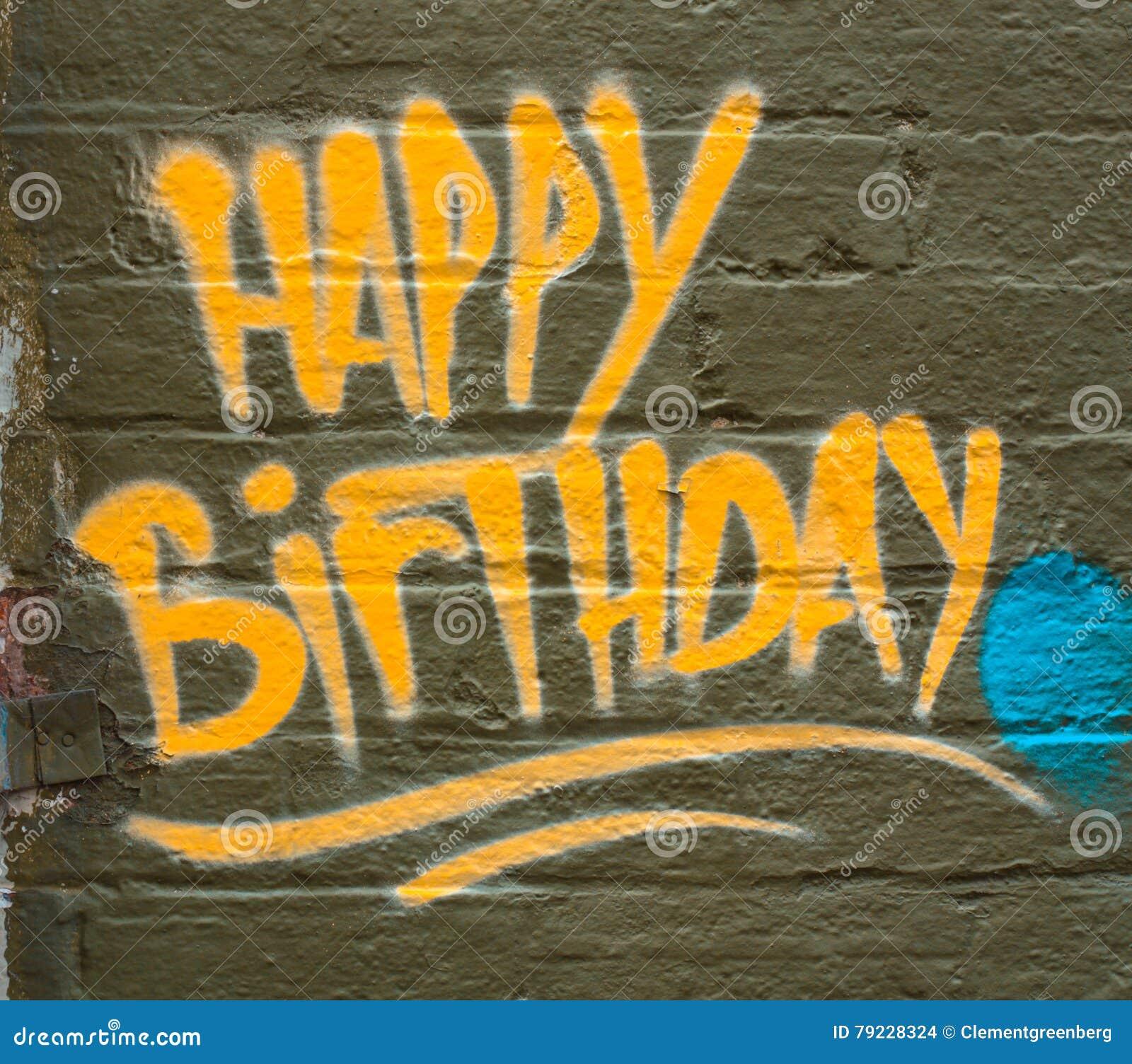 Happy Birthday Graffiti Greeting. Stock Photo - Image of anniversary ...