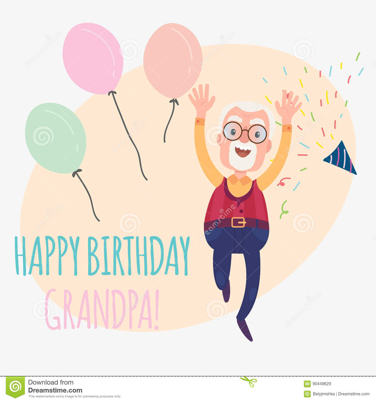 Happy Birthday Grandfather Funny Card With Confetti And Balloons Vector Illustration