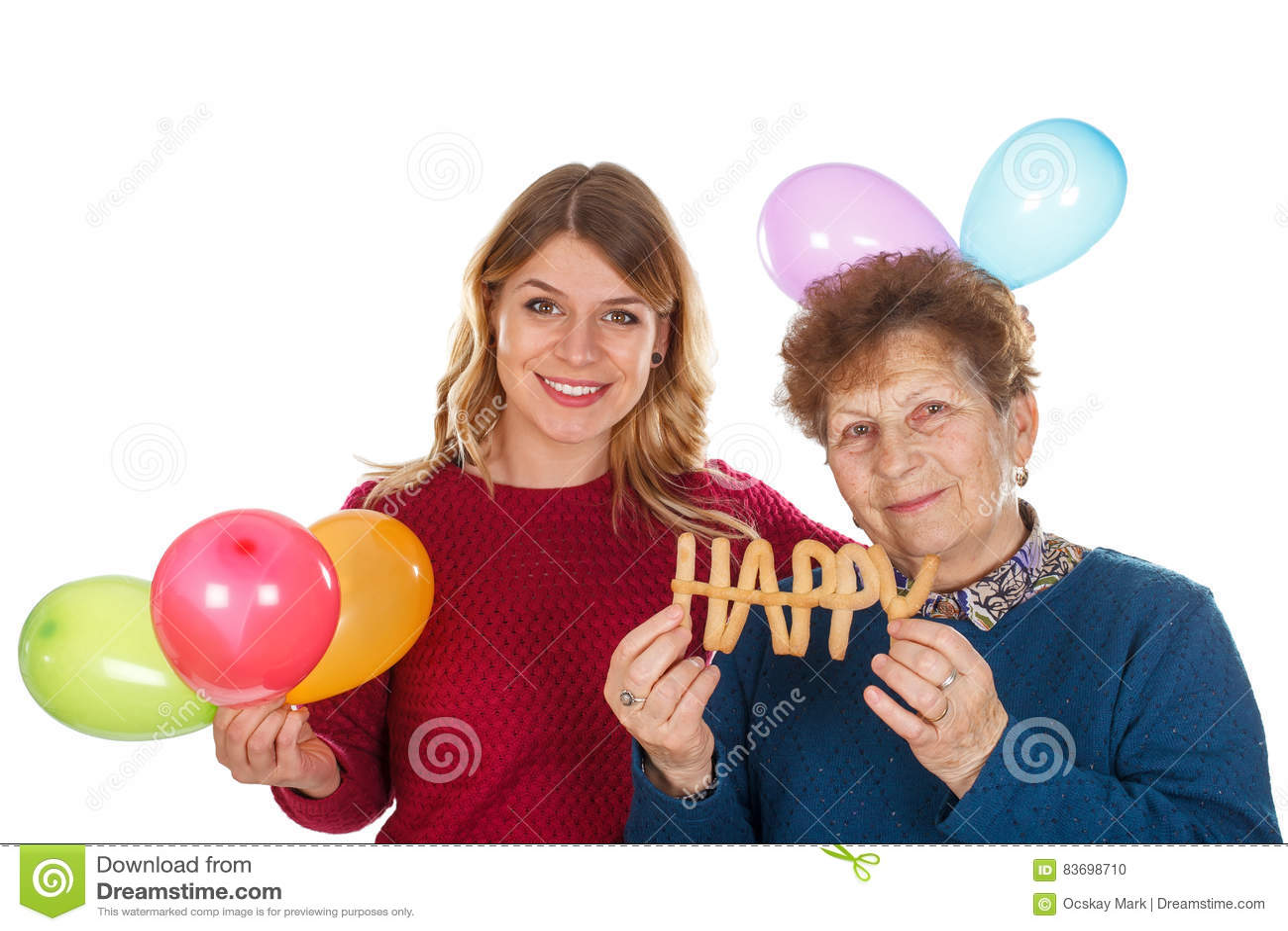 Happy Birthday Grandma Stock Photo Image Of Granddaughter