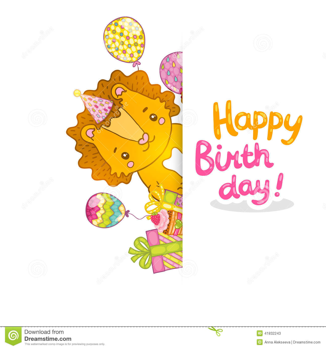 Happy birthday greeting background with a lion stock vector happy birthday greeting background with a lion lettering drawing kristyandbryce Image collections
