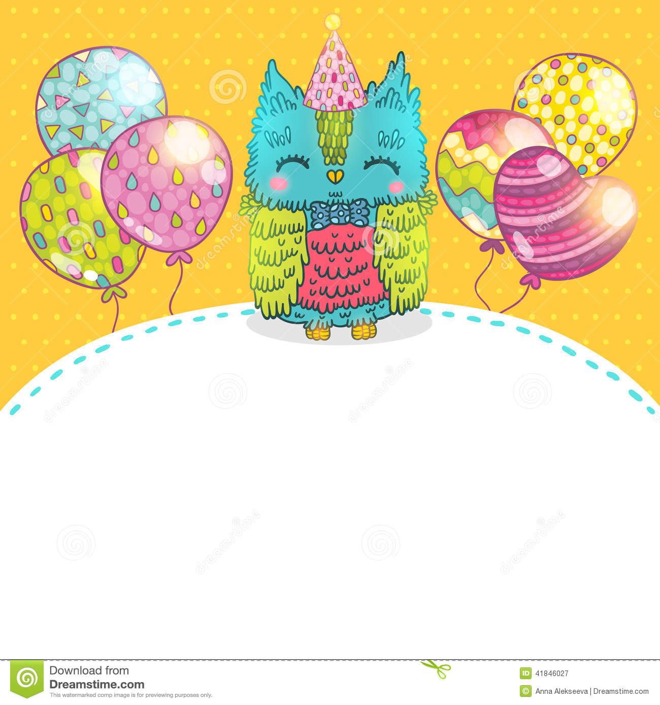 Happy Birthday Greeting Background With An Owl Illustration 41846027