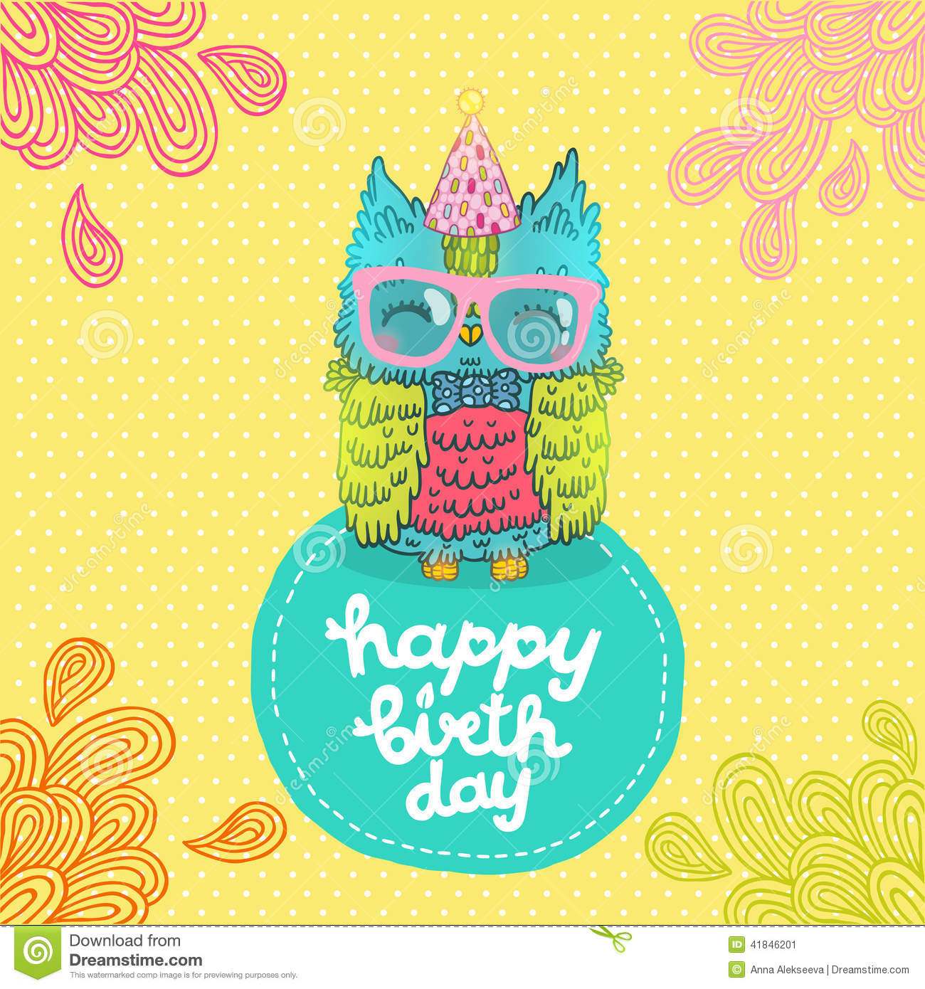 Happy Birthday Greeting Background With An Owl Stock Vector