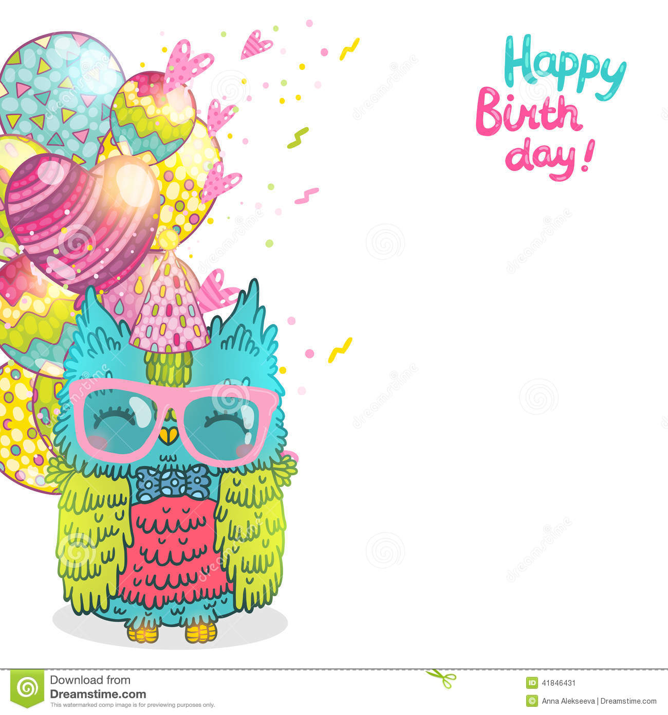 Happy Birthday Greeting Background With An Owl Stock