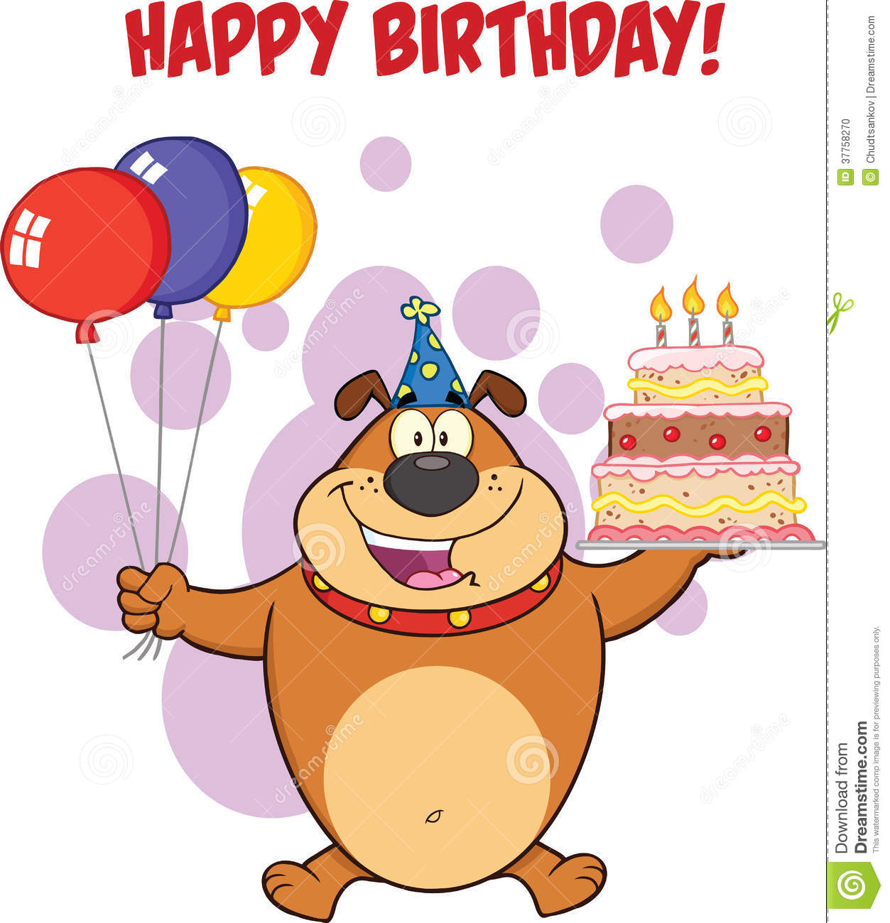 Happy Birthday Greeting With Brown Bulldog Holding Up A