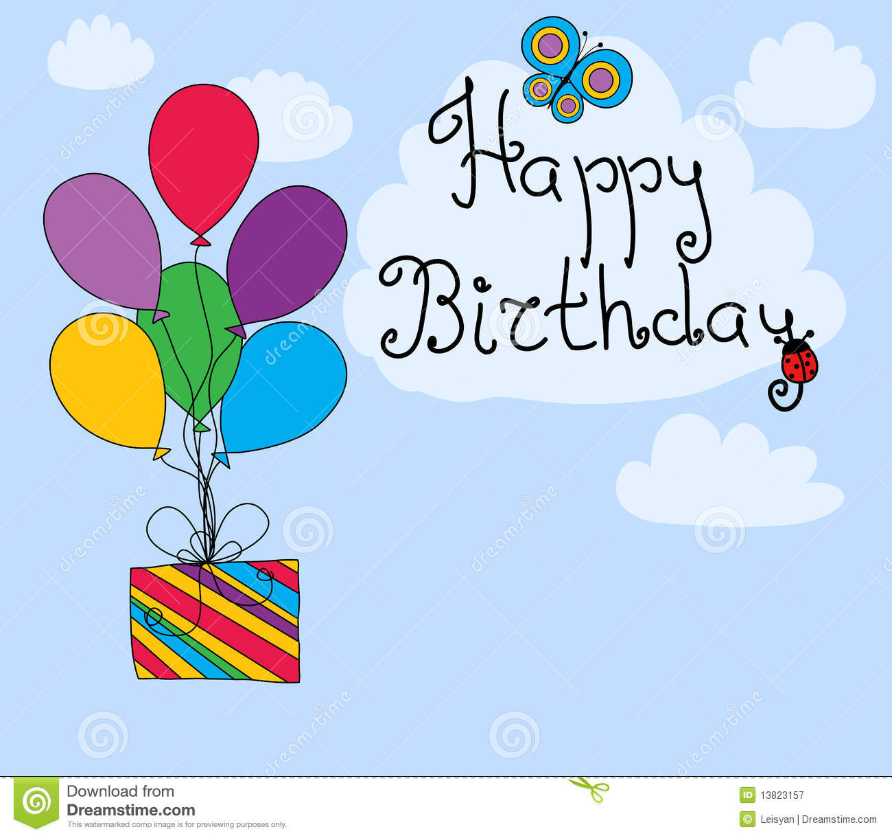 Happy Birthday Greeting Card Stock Vector Illustration Of Happy