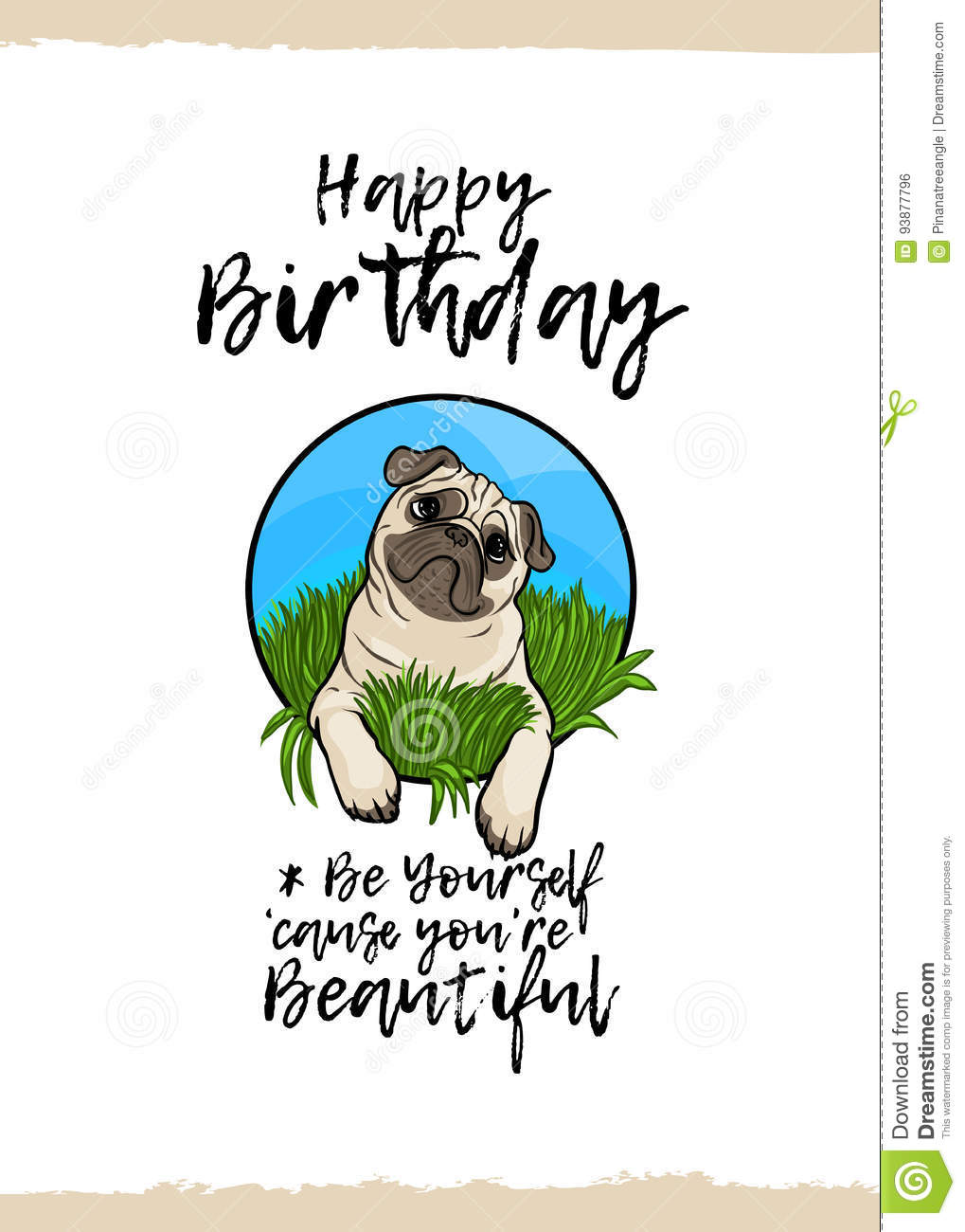 Happy Birthday Be Yourself Because You Are Beautiful Greeting Card With A Cute Animal And Kind Wish Cartoon Style Suitable For Kids Congratulations