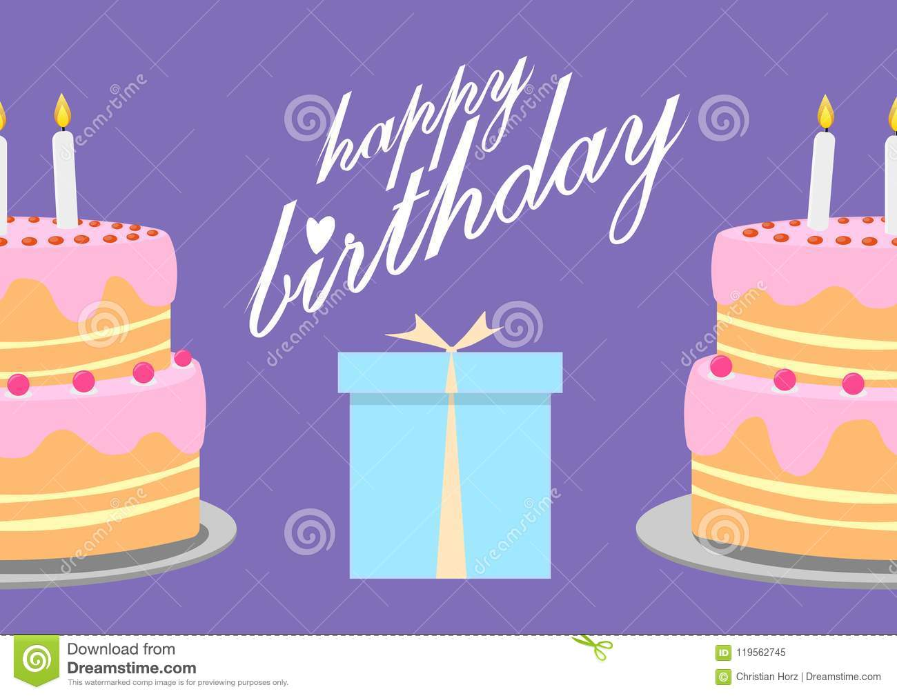 Happy Birthday Greeting Card With Birthday Cake Illustration Stock