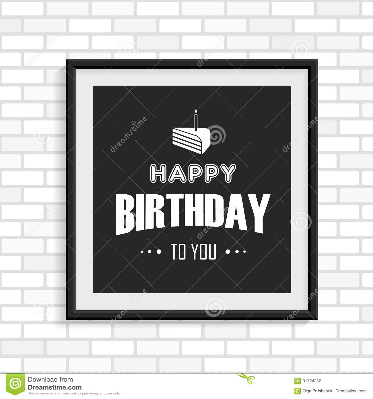 Happy Birthday Greeting Card In The Black Photo Frame Stock Vector