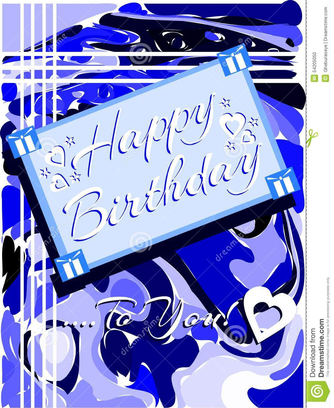Happy Birthday Greeting Card In Blue Tones Stock Vector