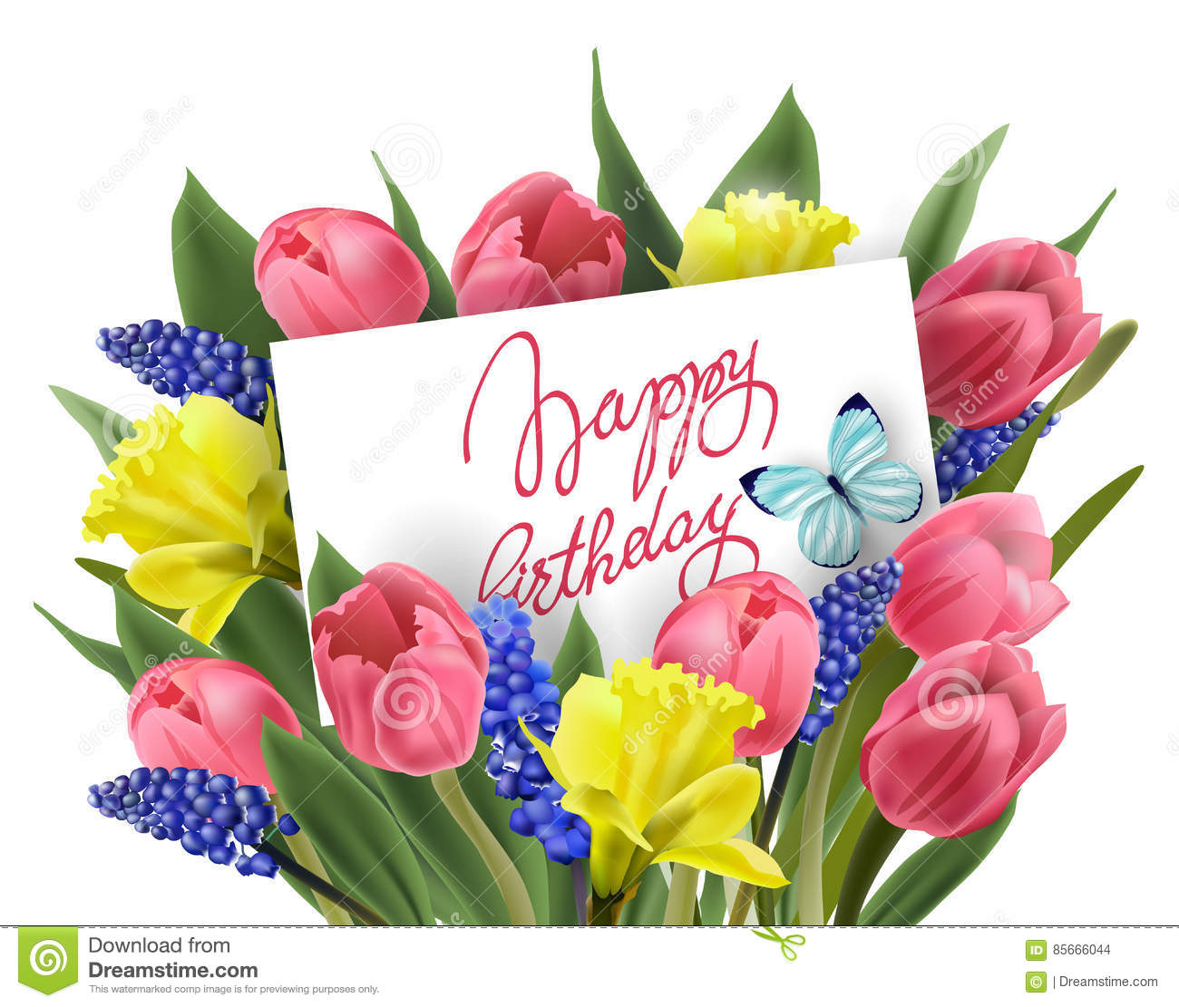 Happy birthday greeting card with bouquet of spring flowers tulips download happy birthday greeting card with bouquet of spring flowers tulips daffodils muscari izmirmasajfo