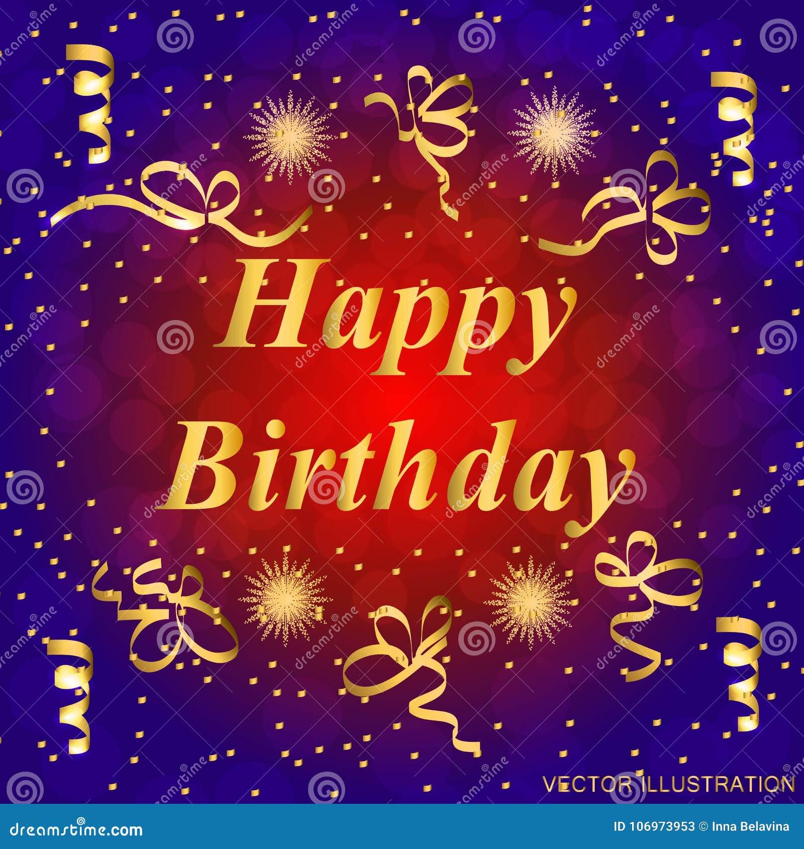 Happy Birthday Greeting Card Brightly Colorful Illustration Happy