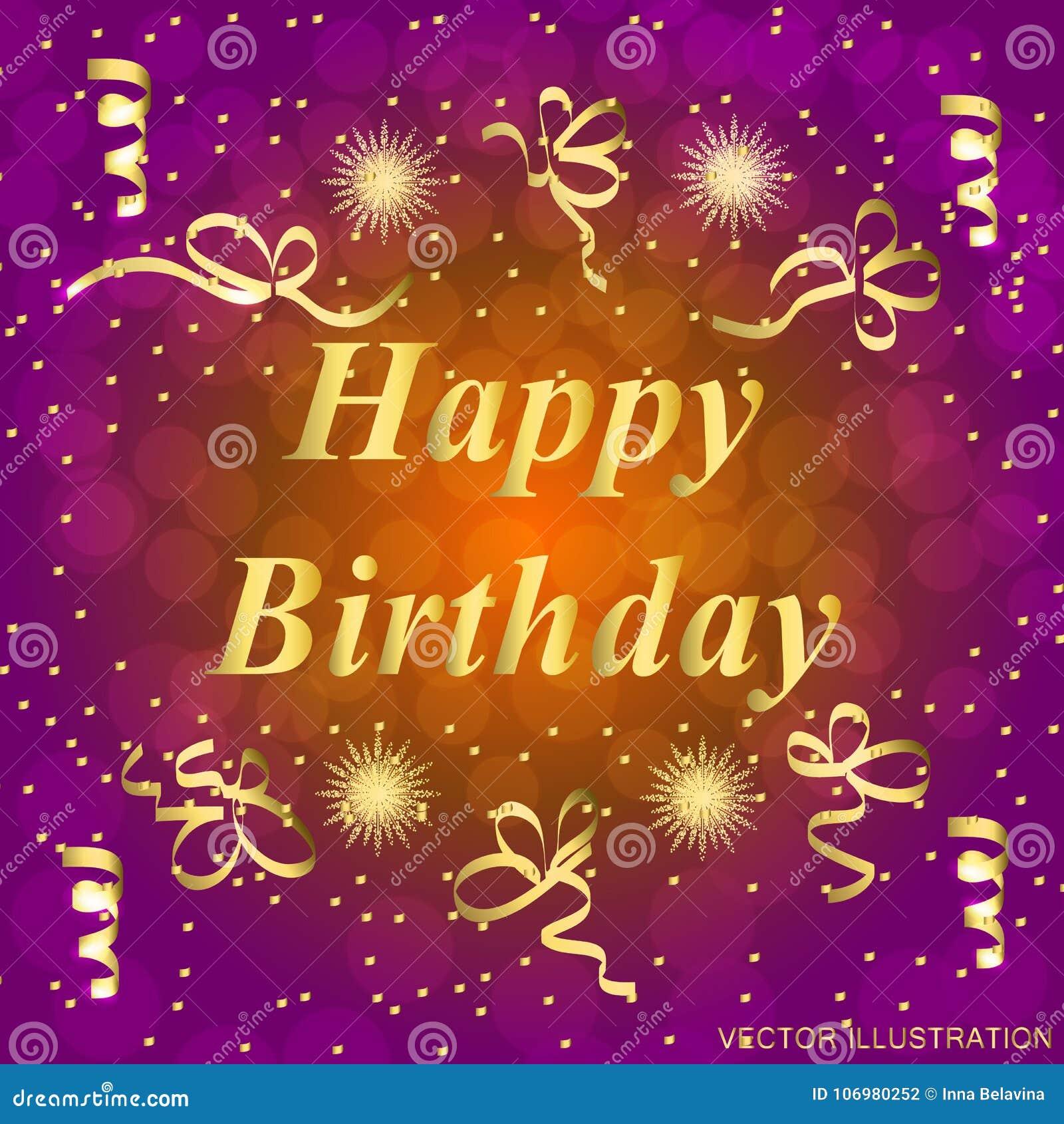 Happy Birthday Greeting Card. Brightly Colorful Illustration. Happy ...