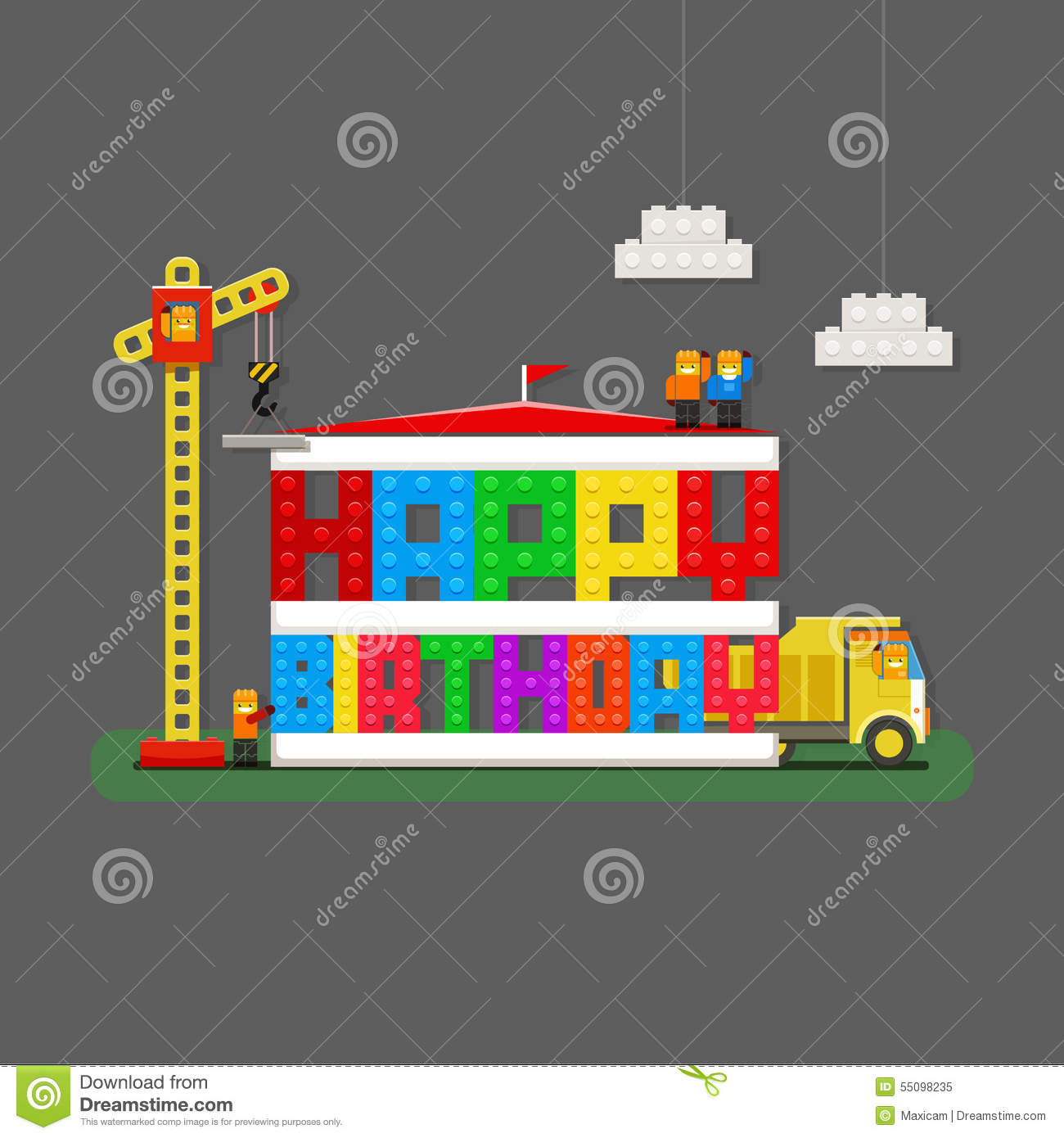 Happy Birthday Greeting Card With Builders Truck And Builder Cr