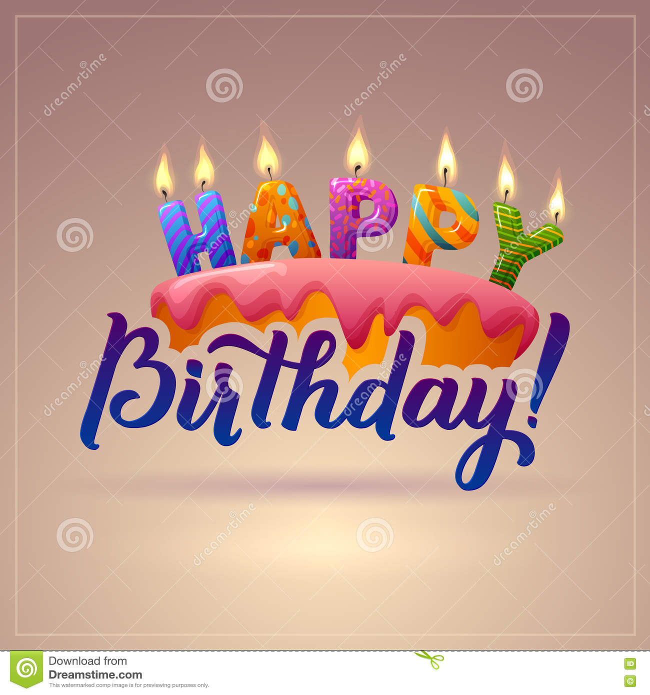 Happy Birthday Greeting Card Cake With Candles Stock Vector