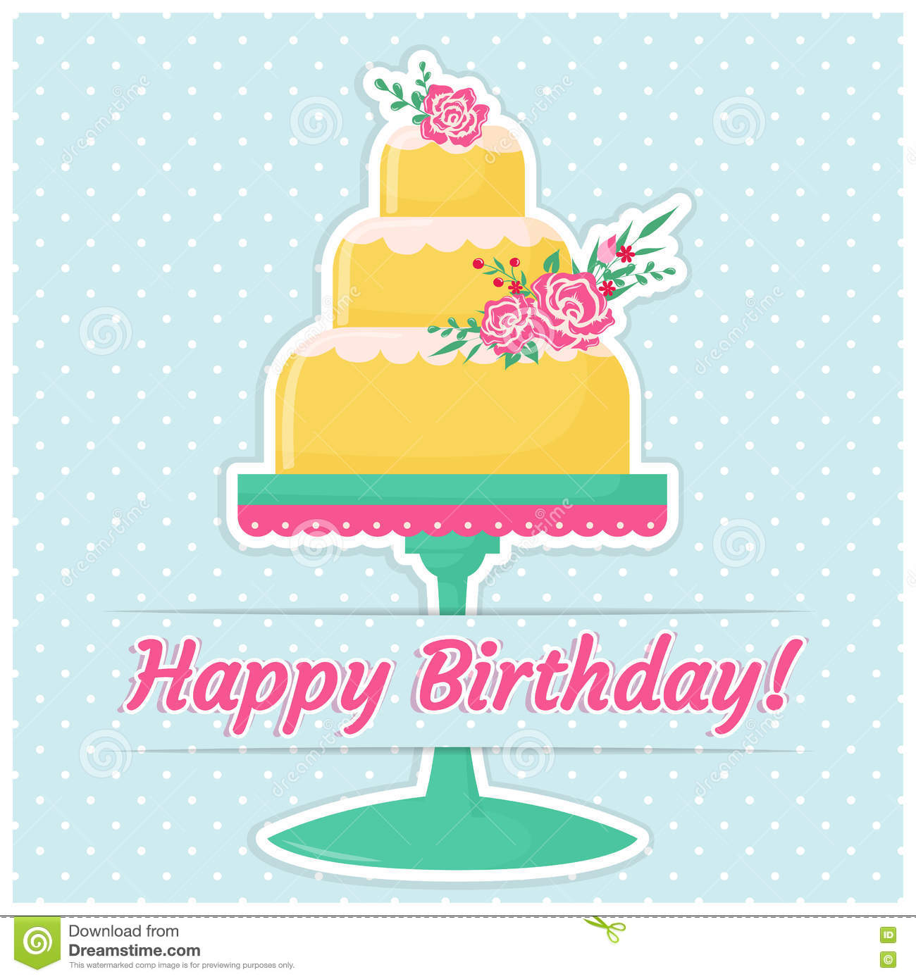 Happy Birthday Greeting Card Stock Vector Illustration Of