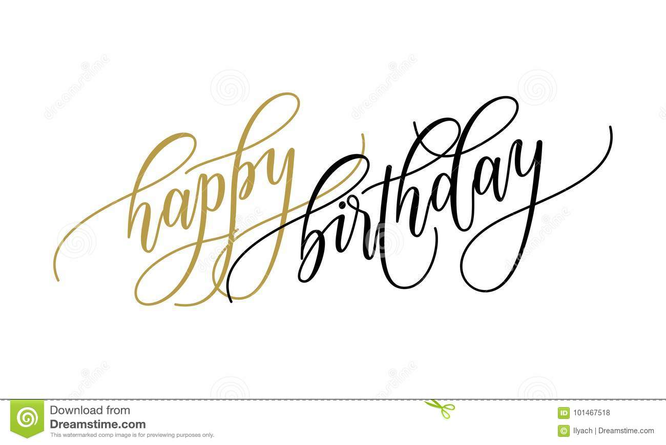 Happy Birthday Greeting Card Calligraphy Hand Drawn Vector Postcard