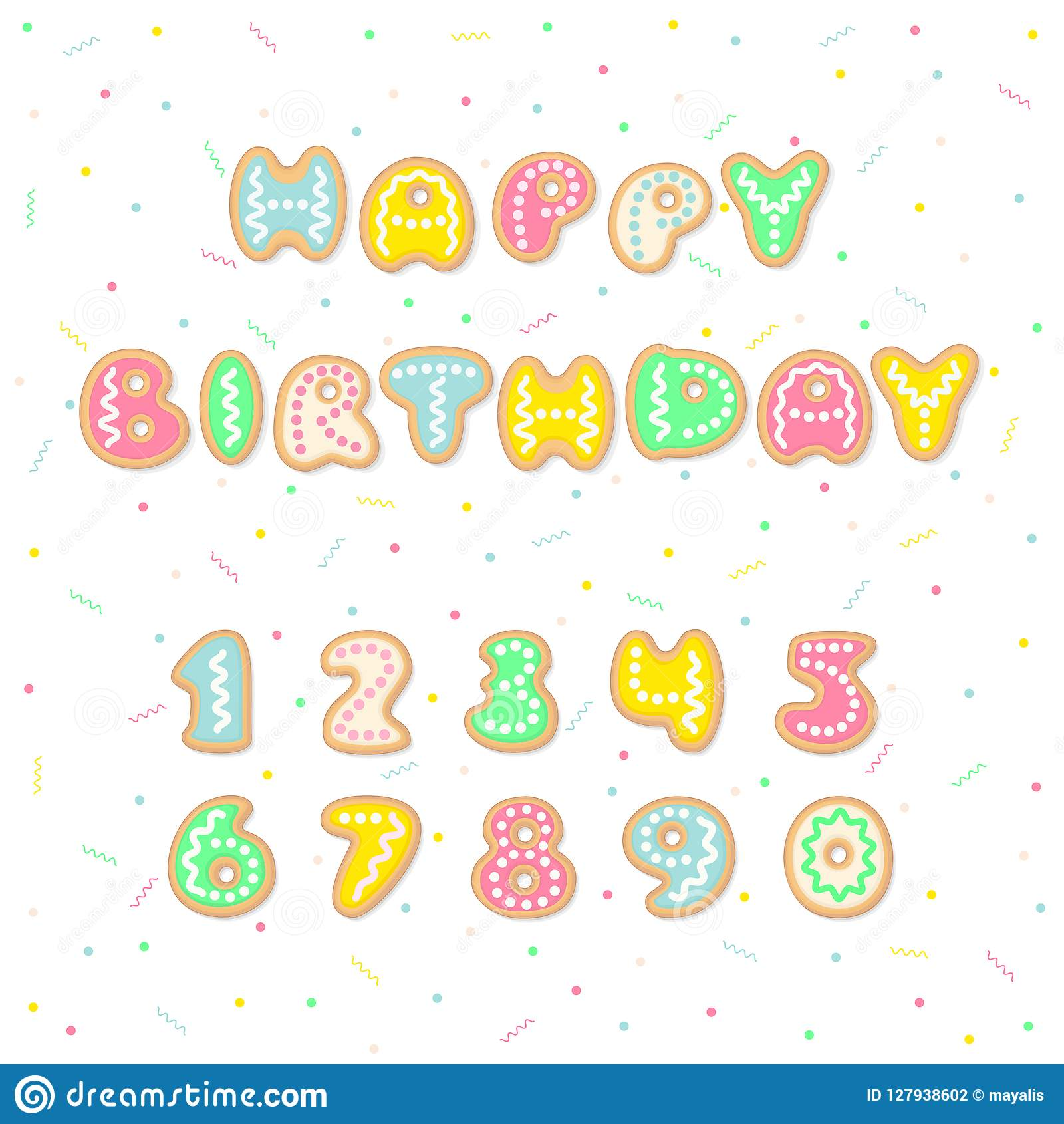 happy birthday greeting card with cartoon cookies letters forming the words and editable numbers