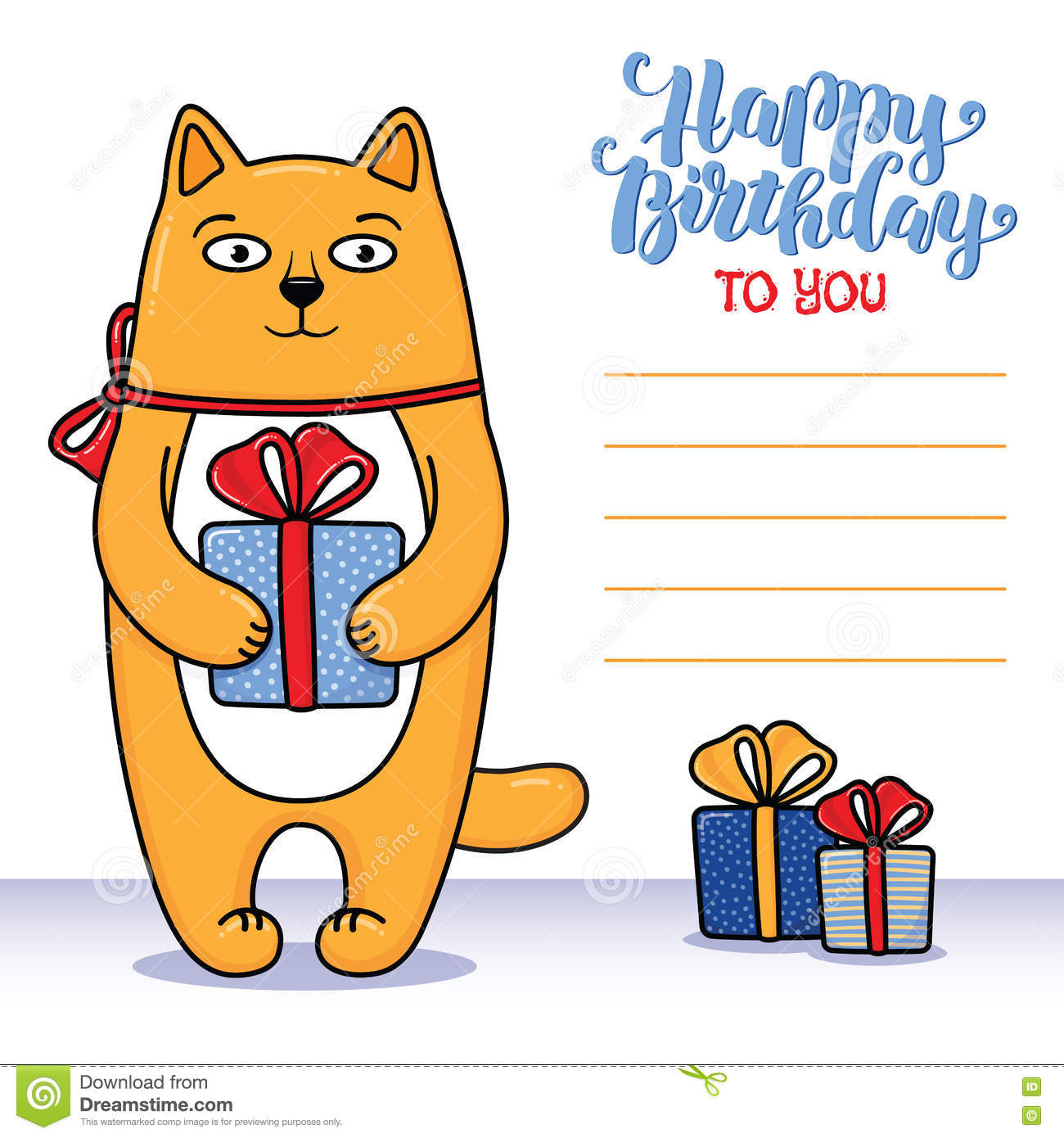 Happy Birthday Greeting Card With Cat Holding A Gift