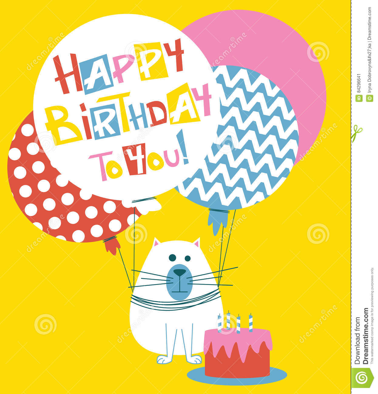 Happy Birthday Greeting Card With Cats Stock Vector Illustration