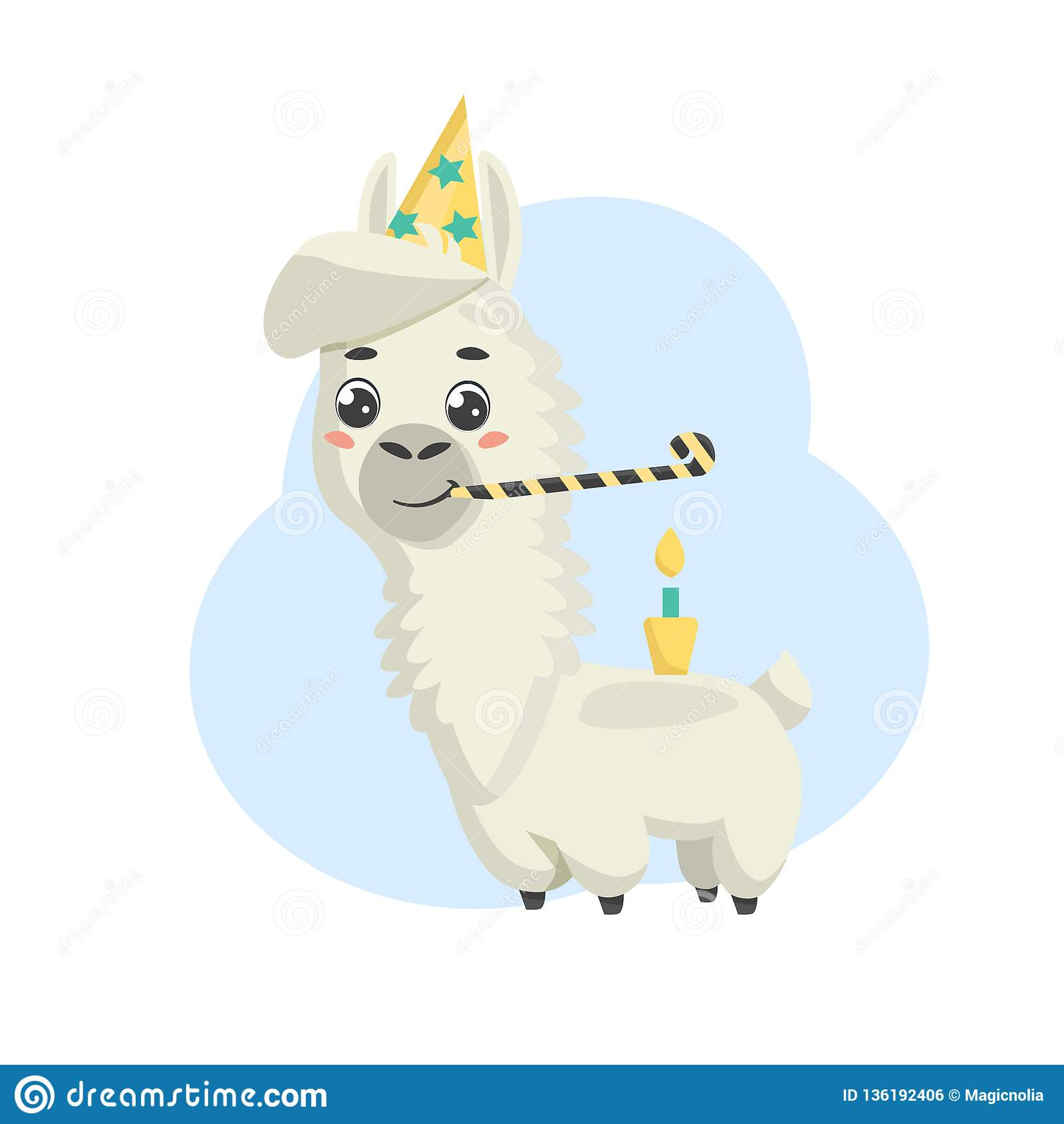 Happy Birthday Greeting Card With Celebrating Cute Cartoon Alpaca Cap Cake Candle