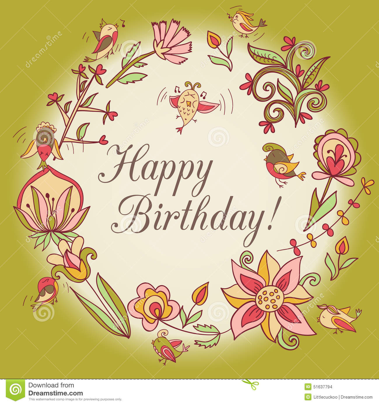 Happy Birthday Greeting Card Circle Floral Frame Illustration