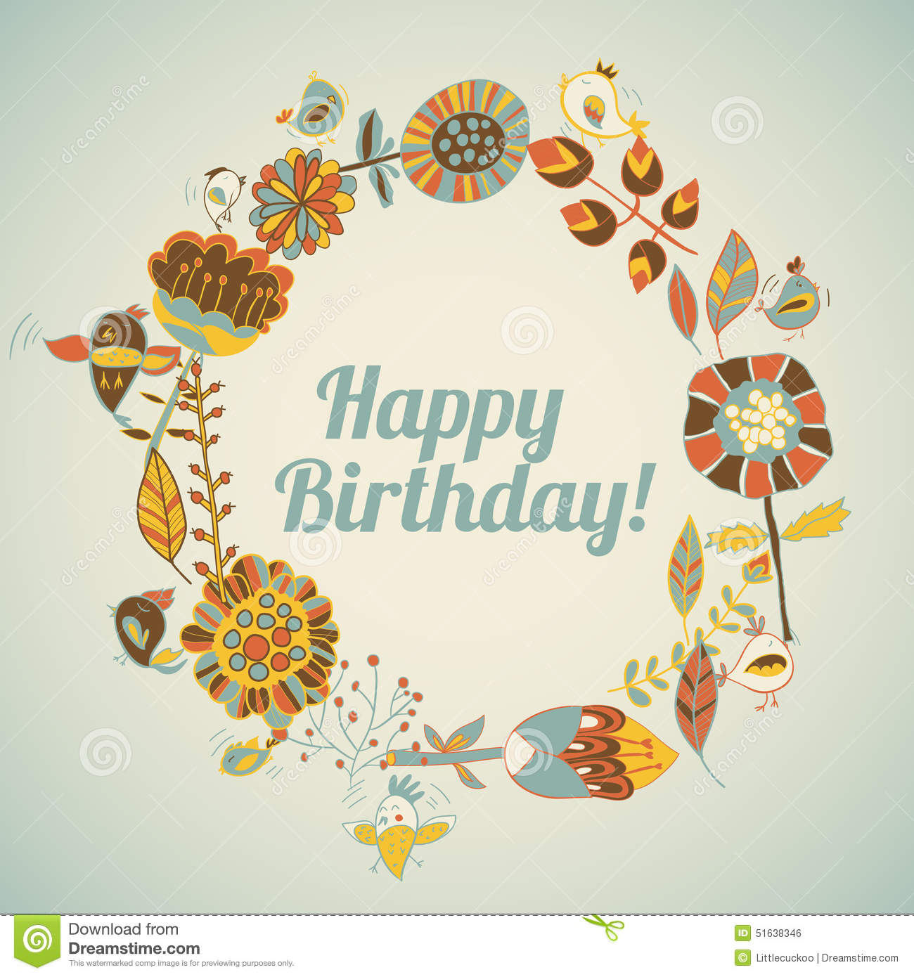 Happy Birthday Greeting Card. Circle Floral Frame Stock