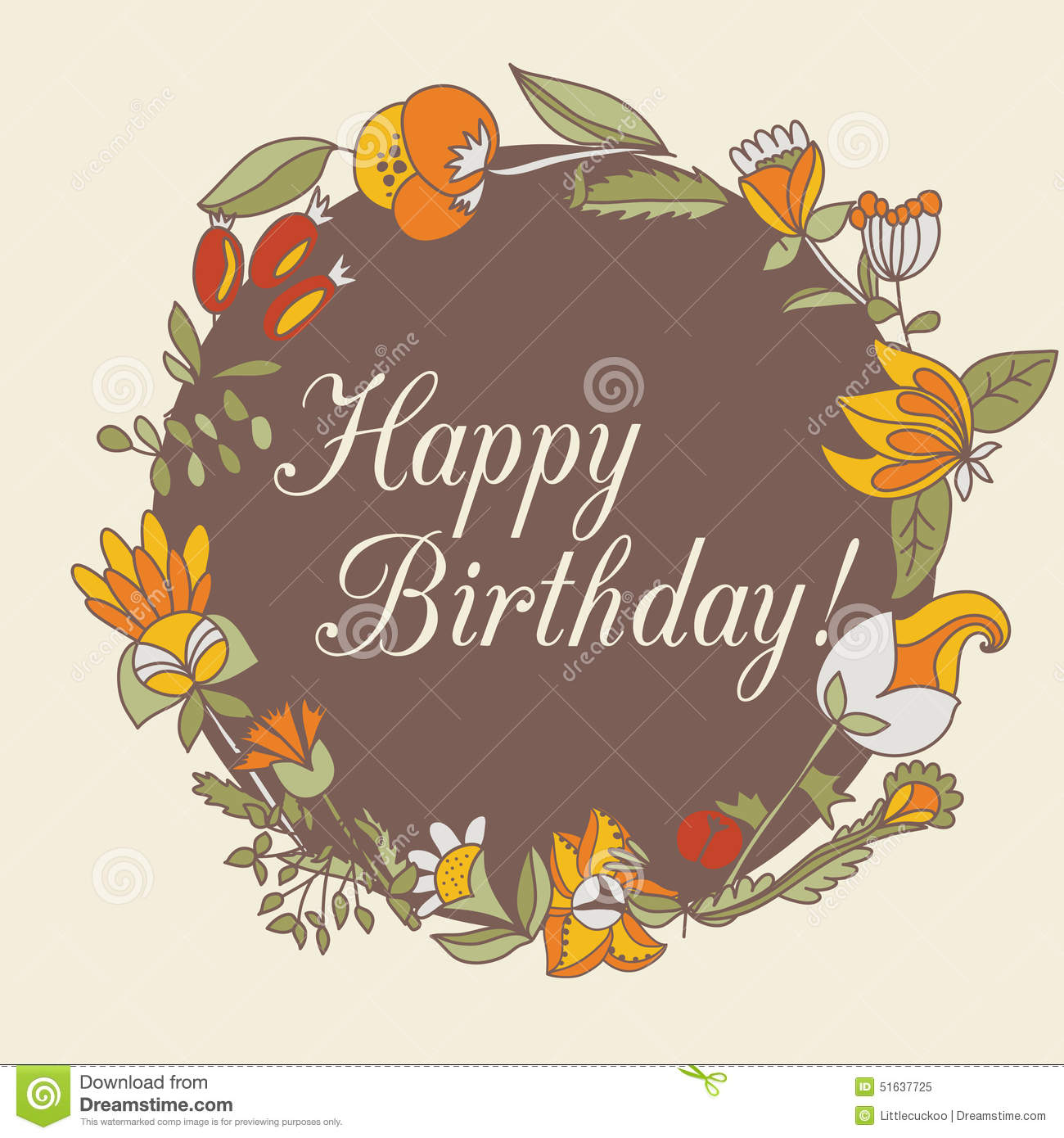 Happy Birthday Greeting Card. Circle Floral Frame