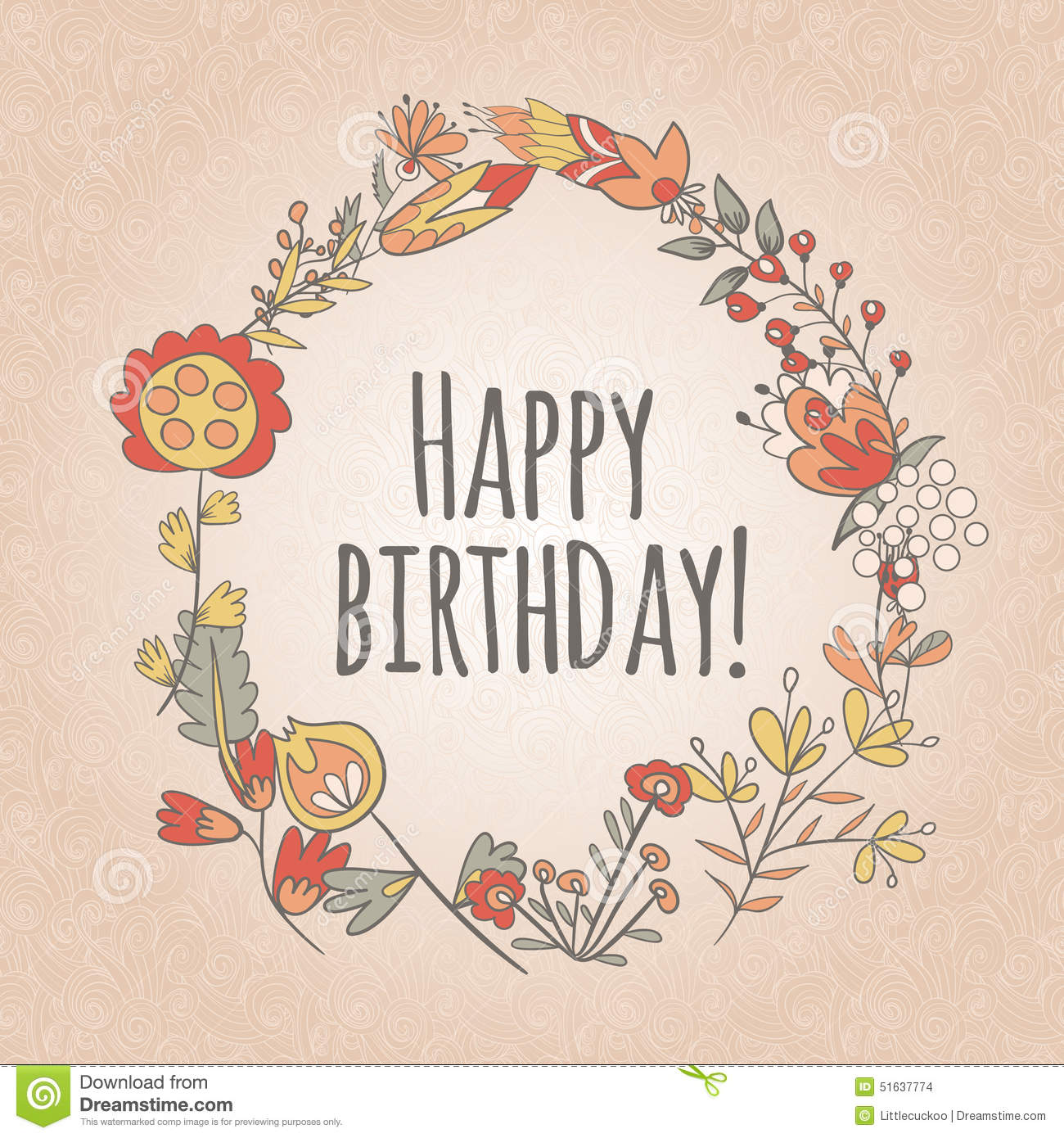 Happy Birthday Greeting Card Circle Floral Frame Stock Vector