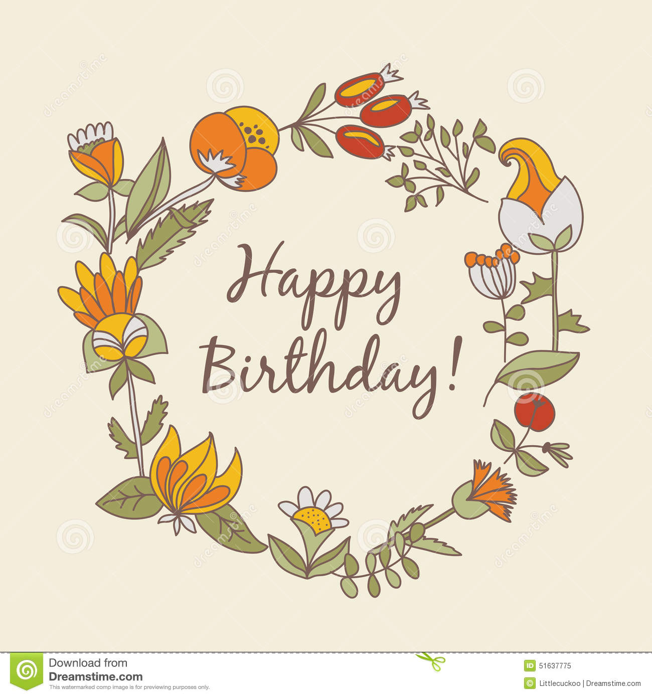 Happy birthday greeting card circle floral frame stock vector download comp izmirmasajfo