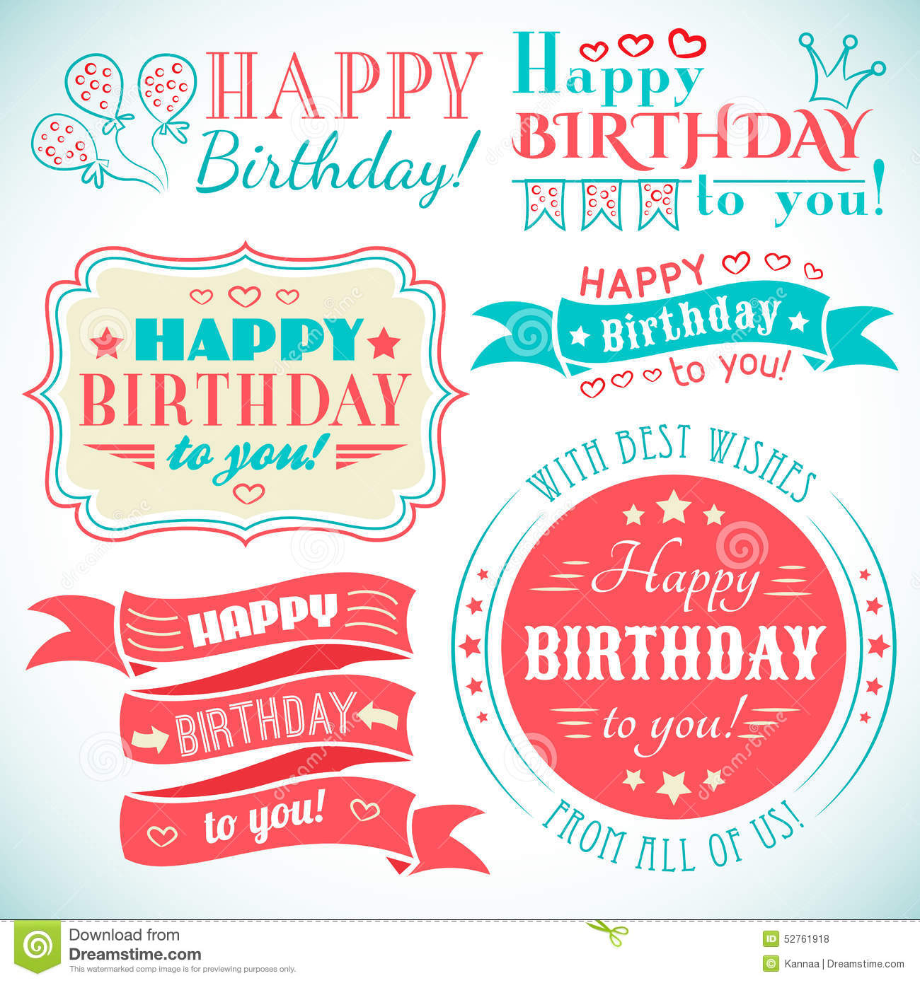 Happy Birthday Greeting Card Collection In Holiday Stock