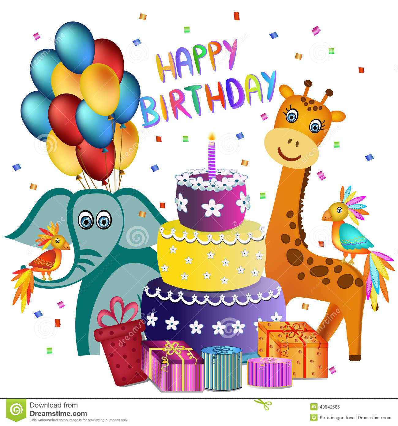 Happy birthday greeting card stock vector illustration of pink party 49842686