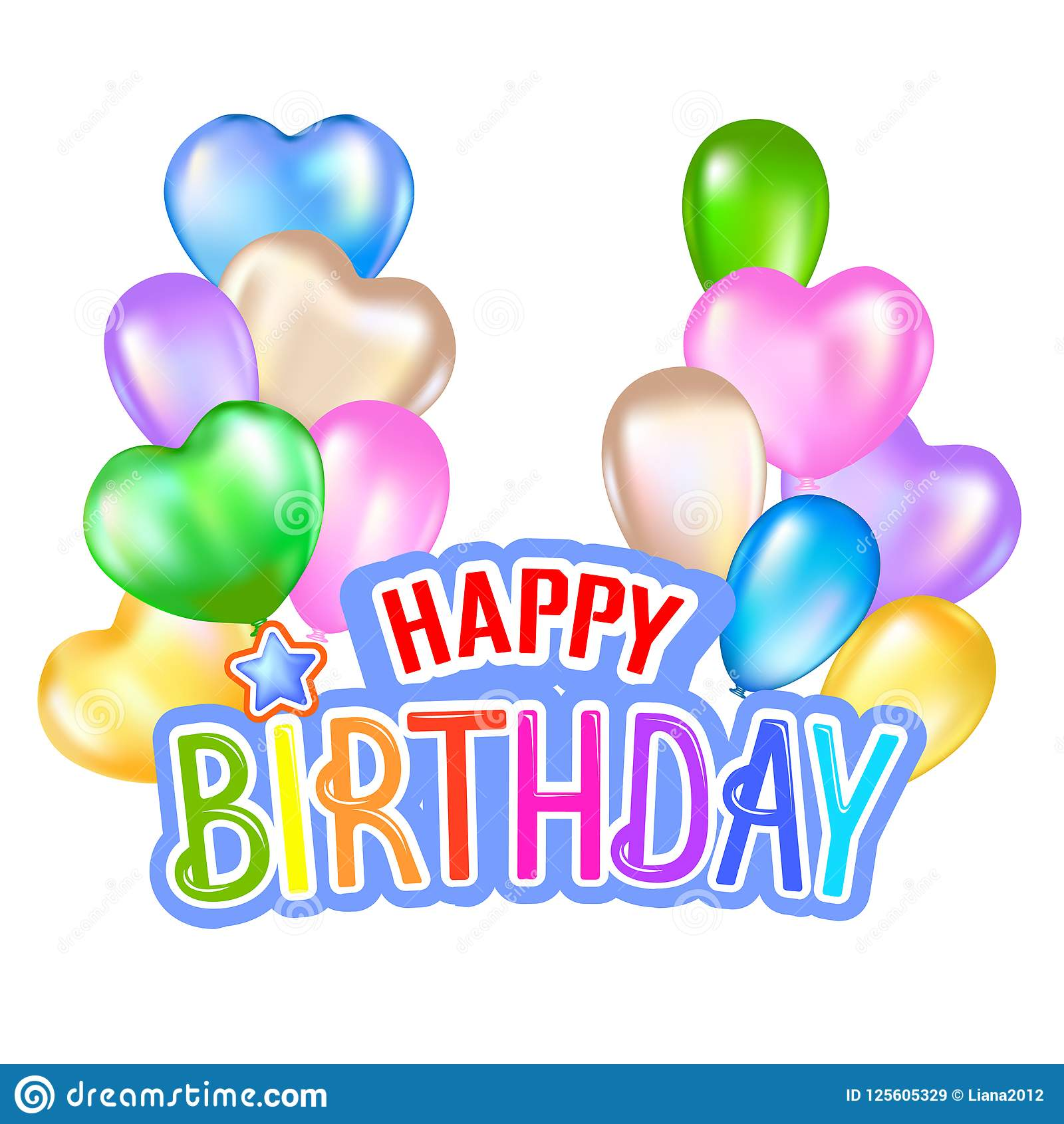 Happy birthday greeting card with colorful design