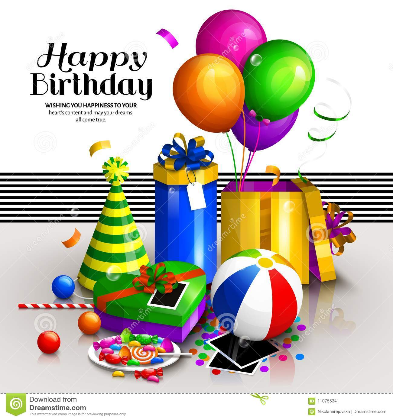 Happy Birthday Greeting Card Colorful Wrapped Gift Boxes Lots Of