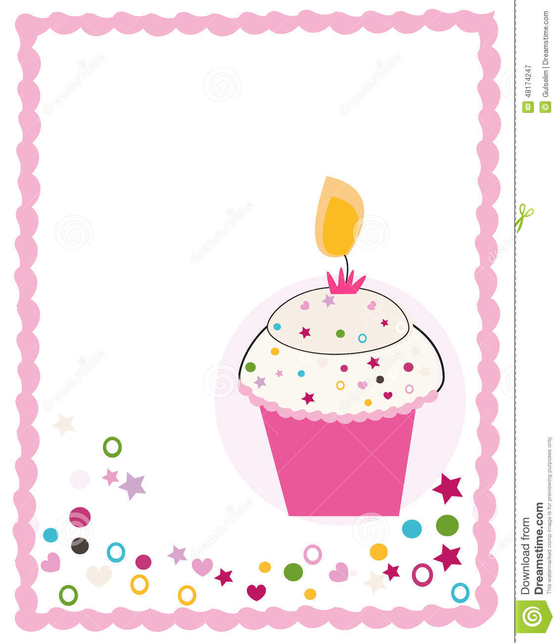 Happy birthday greeting card with cupcake and candle stock vector happy birthday greeting card with cupcake and candle kristyandbryce Image collections