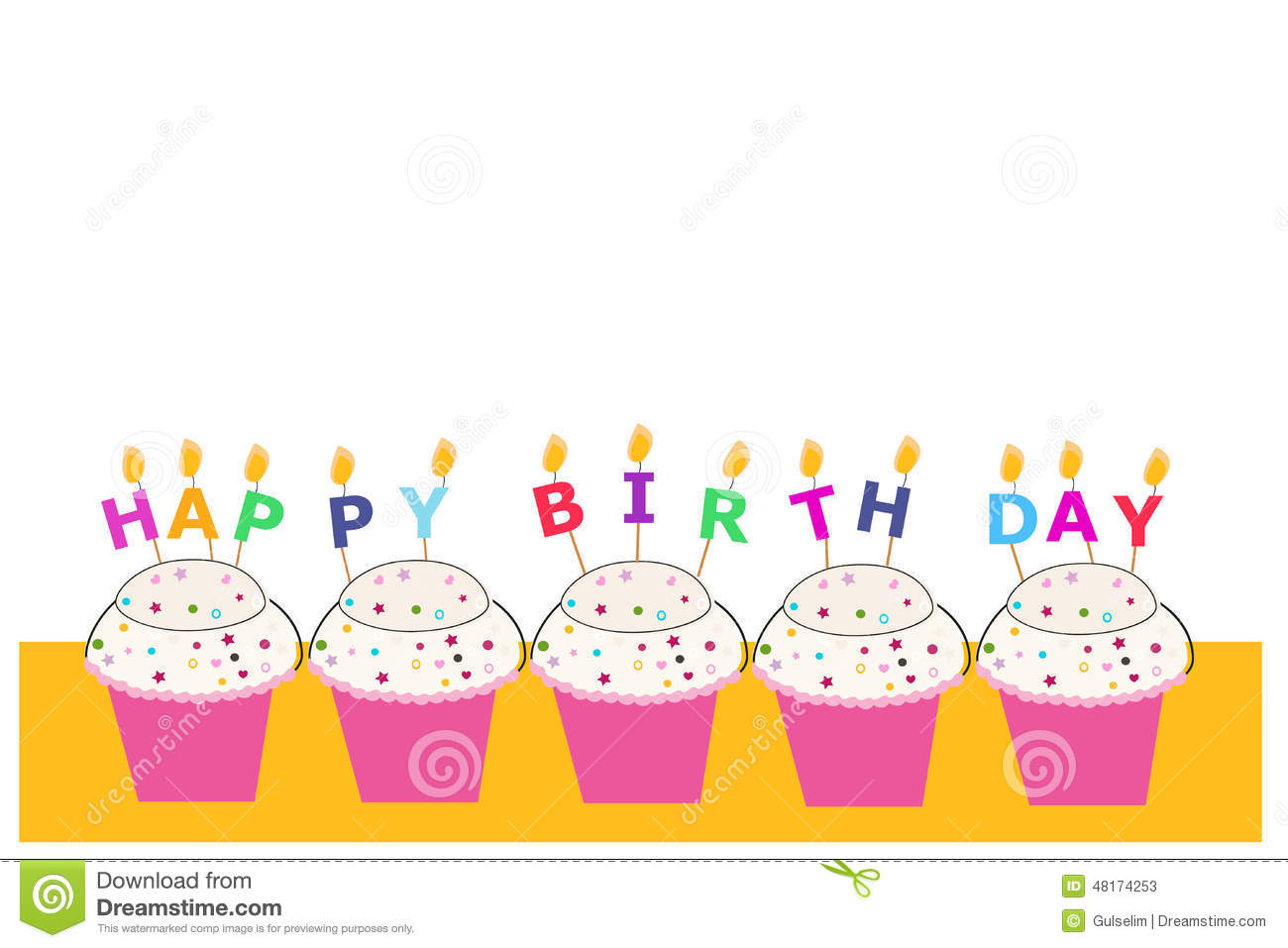 Happy Birthday Greeting Card With Cupcakes And Candles Stock Vector