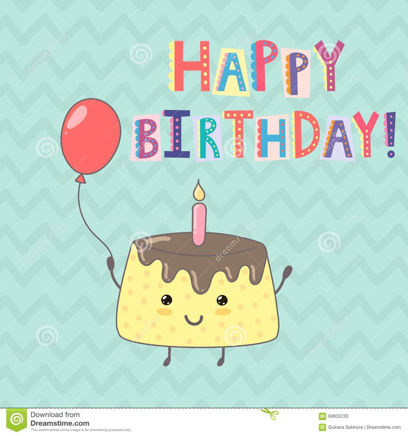 Cute Cake Images For Birthday : Happy Birthday Greeting Card With A Cute Cake Stock Vector ...