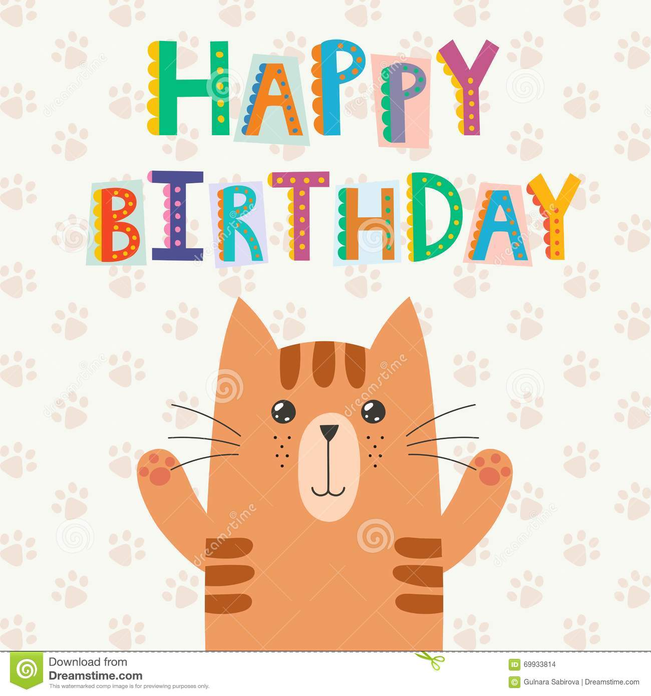 Happy Birthday Illustration Font ~ Happy birthday greeting card with a cute cat and funny text stock vector image