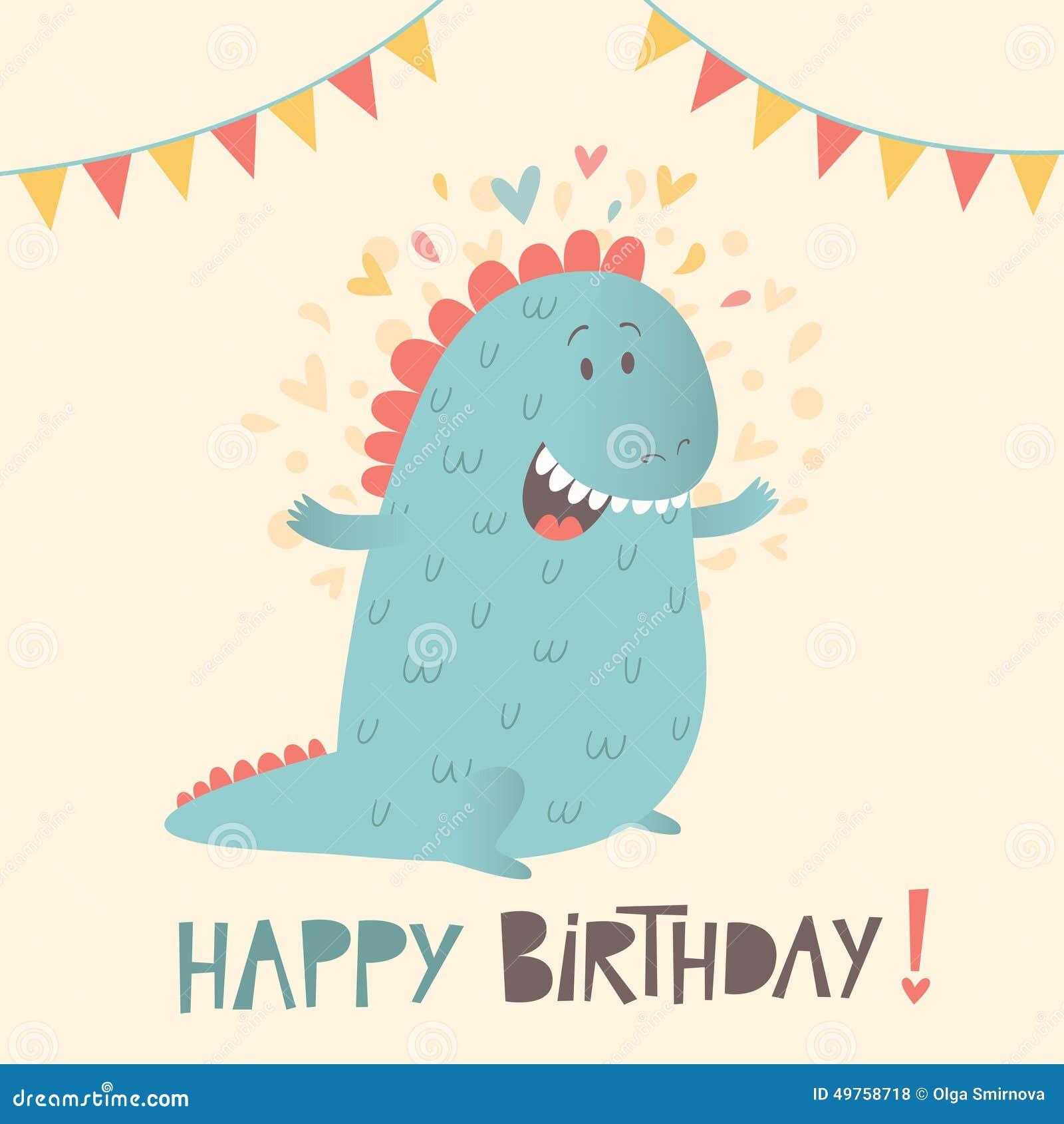 Happy Birthday Greeting Card With Cute Dinosaur Stock