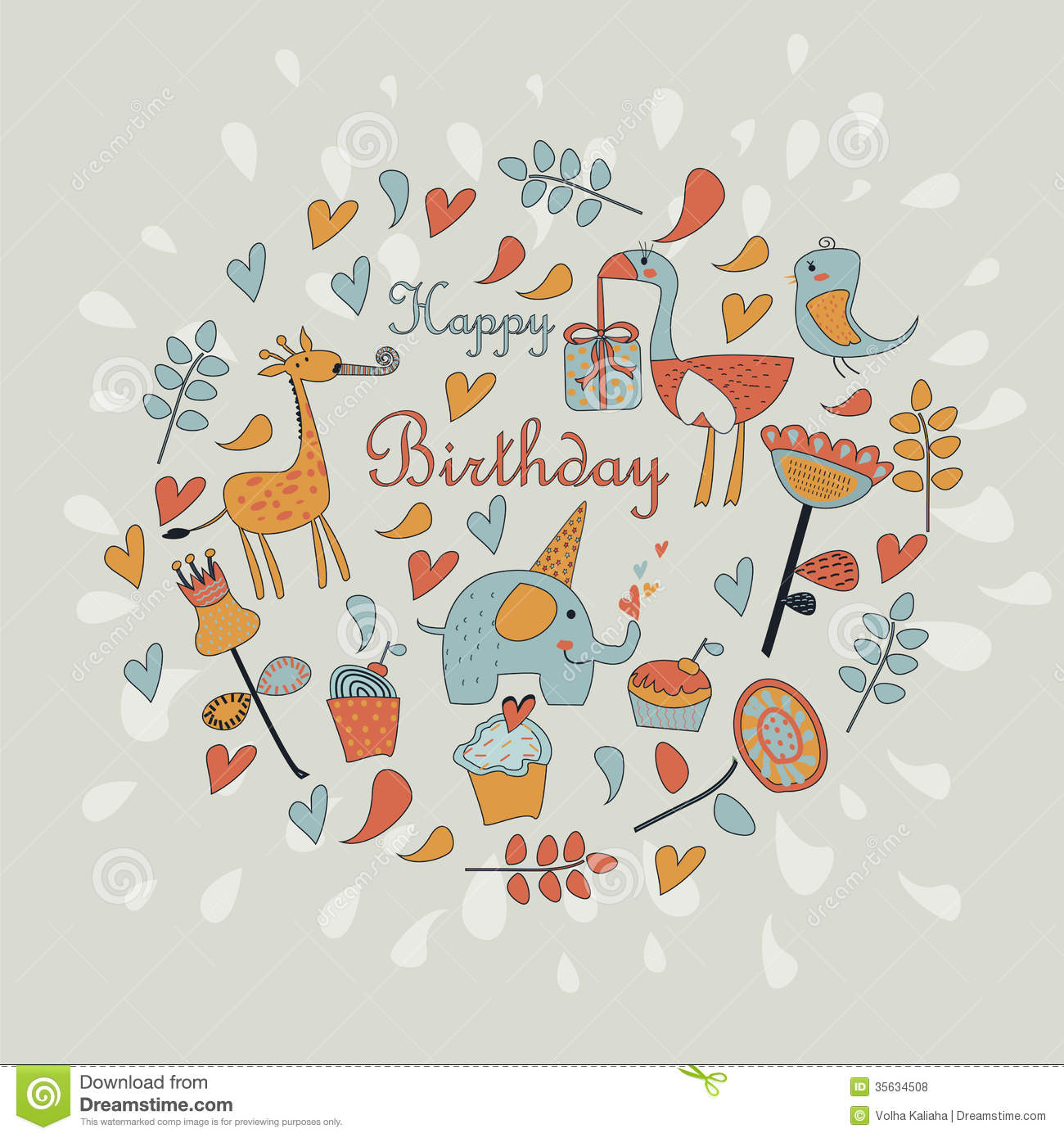 Happy Birthday Greeting Card Stock Vector Illustration Of Birthday