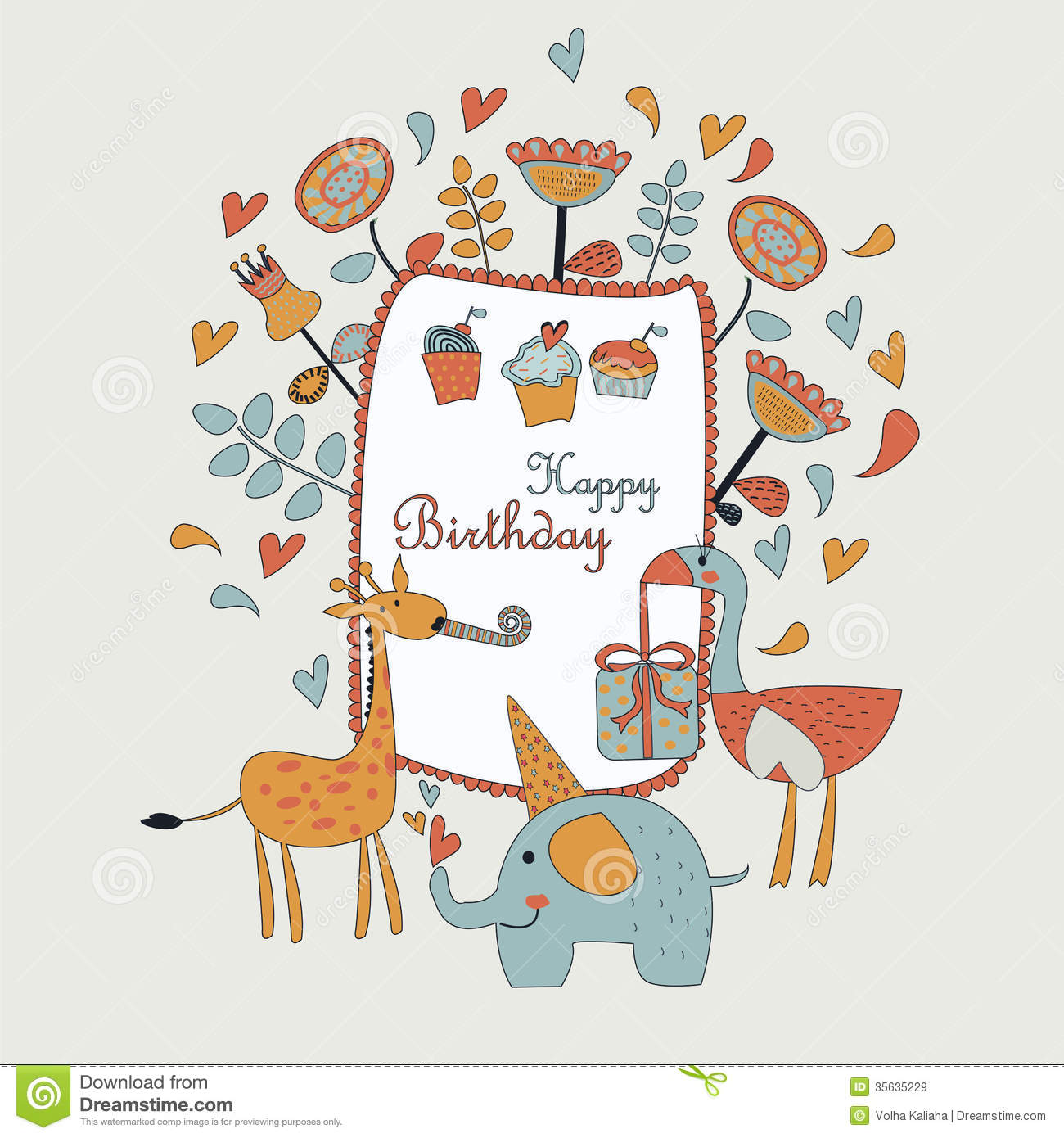 Happy Birthday Greeting Card With Cute Elephant Ostriche Giraffe Flowers Cupcakes And Hearts In Cartoon Style