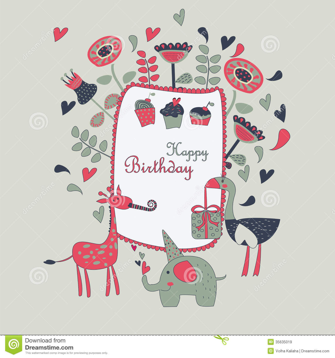 Happy Birthday Greeting Card Royalty Free Stock Images   Image: 35635019
