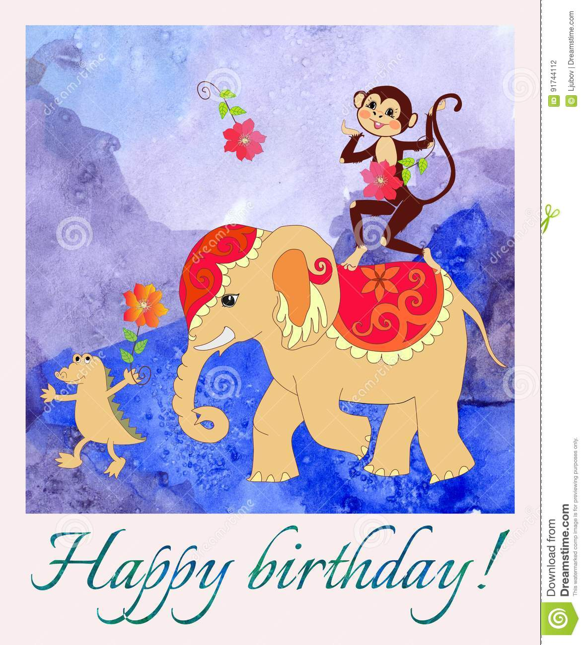 Happy Birthday Greeting Card With Cute Monkey Elephant And Small