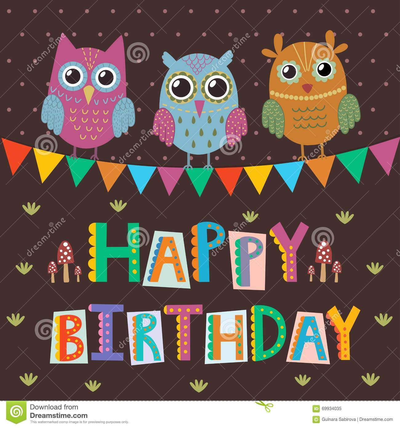 Happy Birthday Greeting Card With Cute Owls And Funny Text