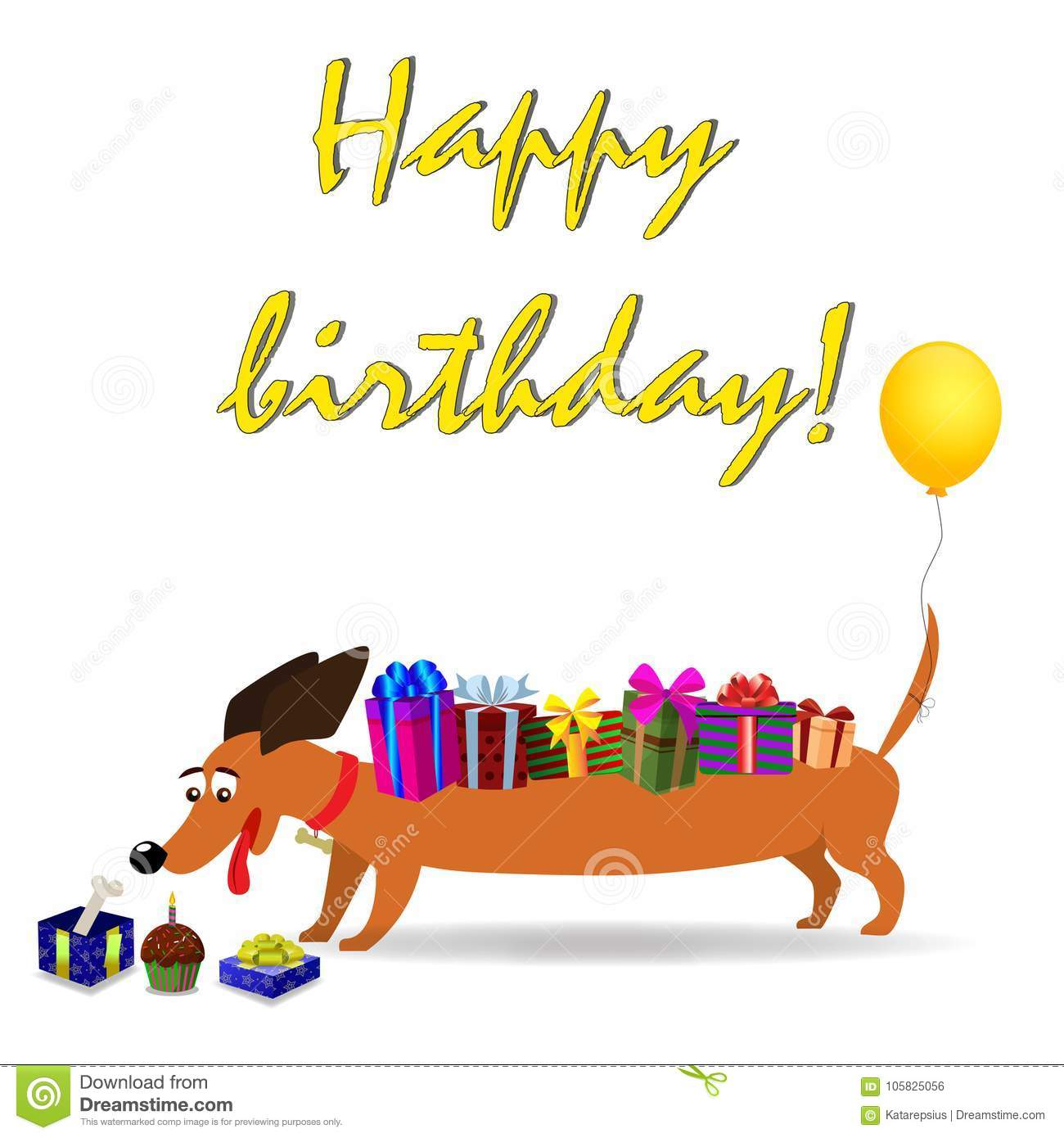 Happy birthday greeting card with dachshund stock vector happy birthday greeting card with dachshund m4hsunfo