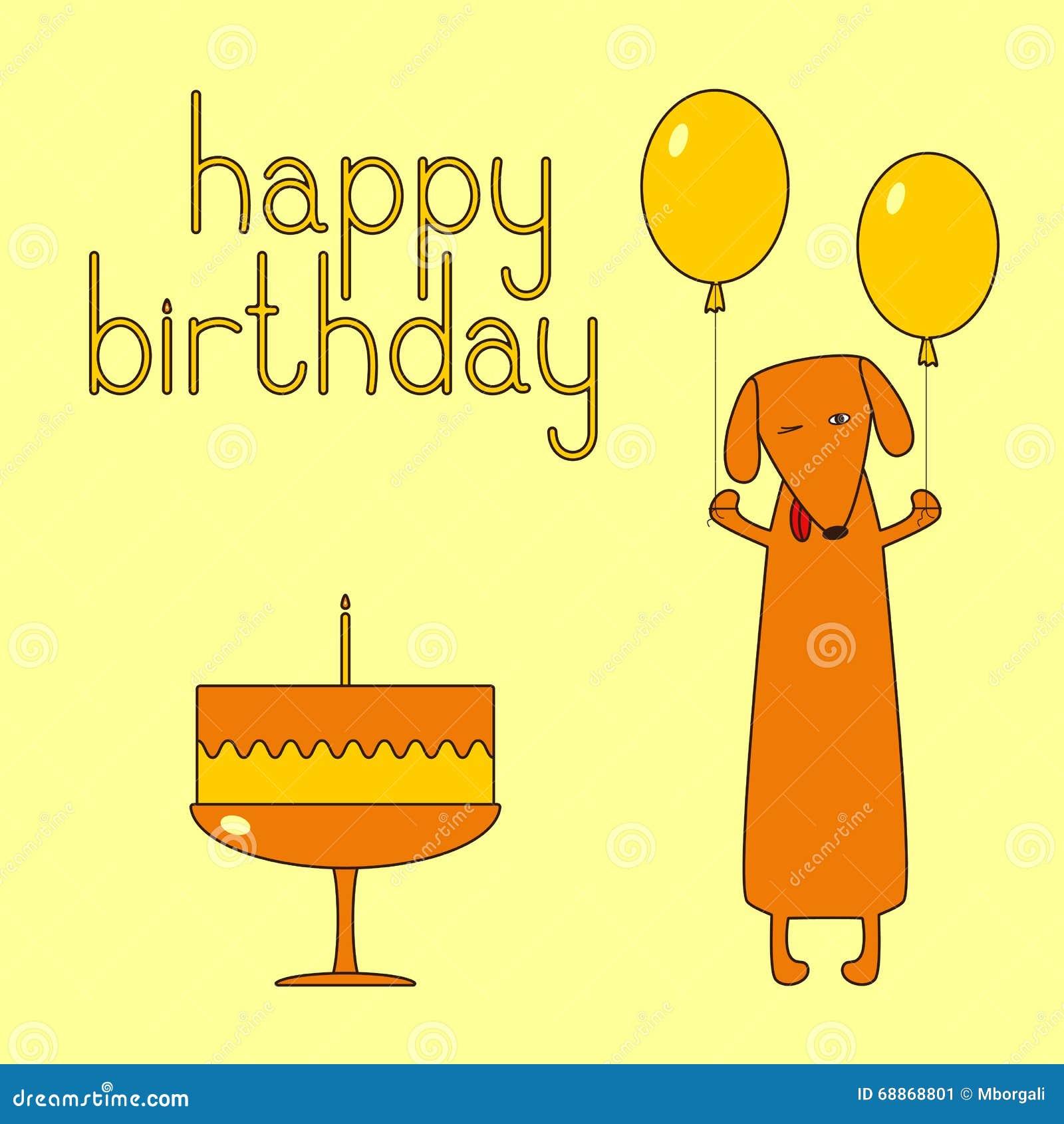 Happy Birthday Greeting Card With Dachshund Vector Image – Funny Happy Birthday Greeting Cards