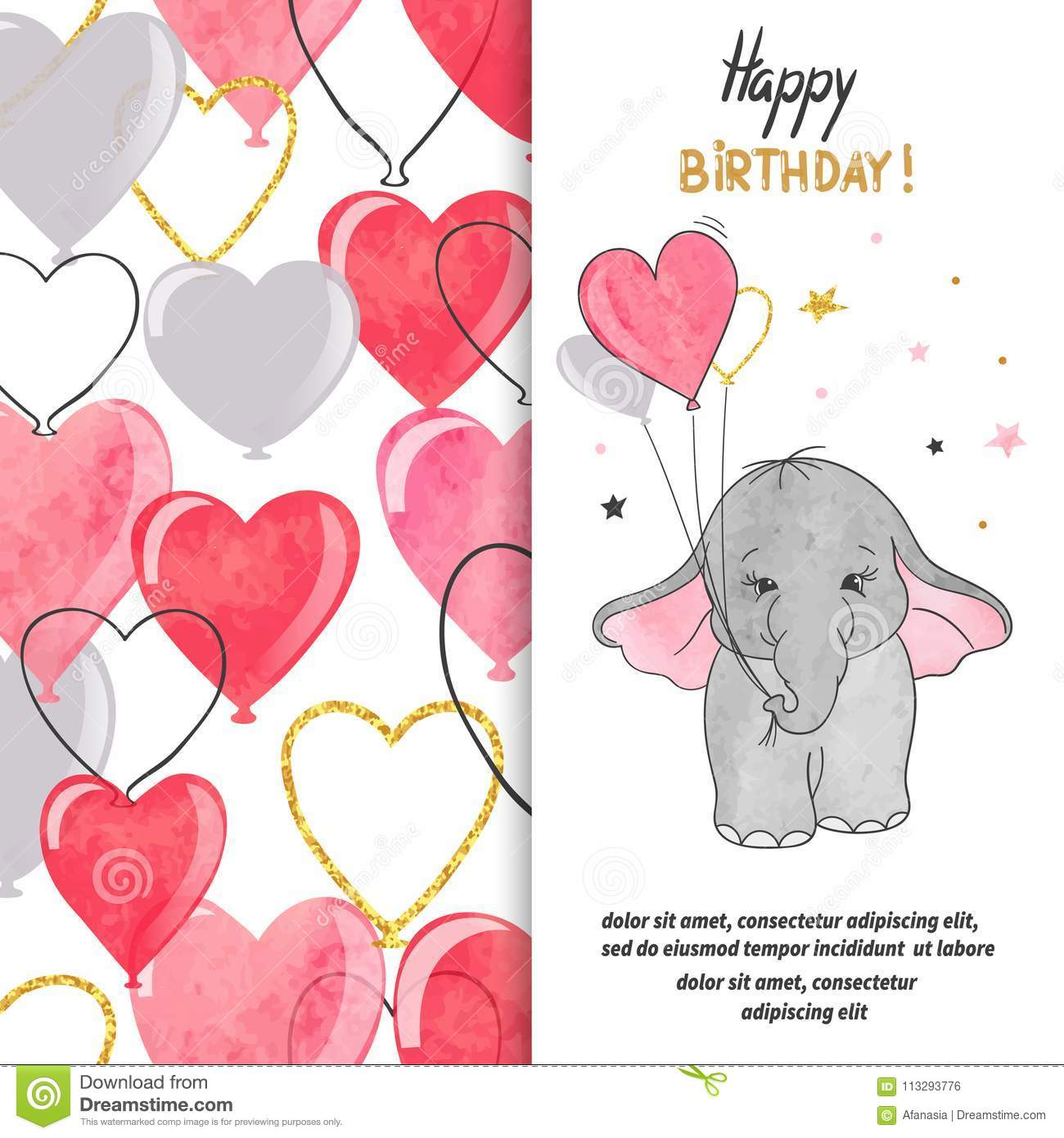 Happy Birthday greeting card design with cute baby elephant and heart balloons