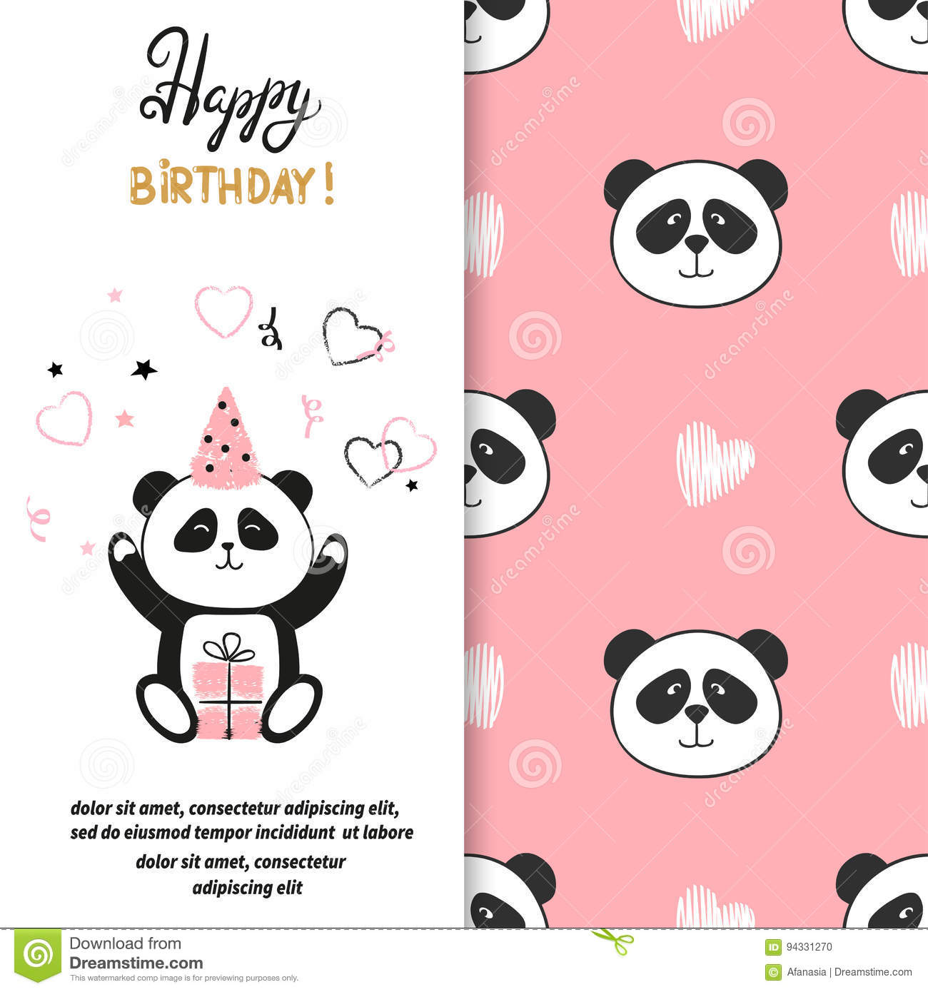 Happy Birthday greeting card design with cute panda bear.