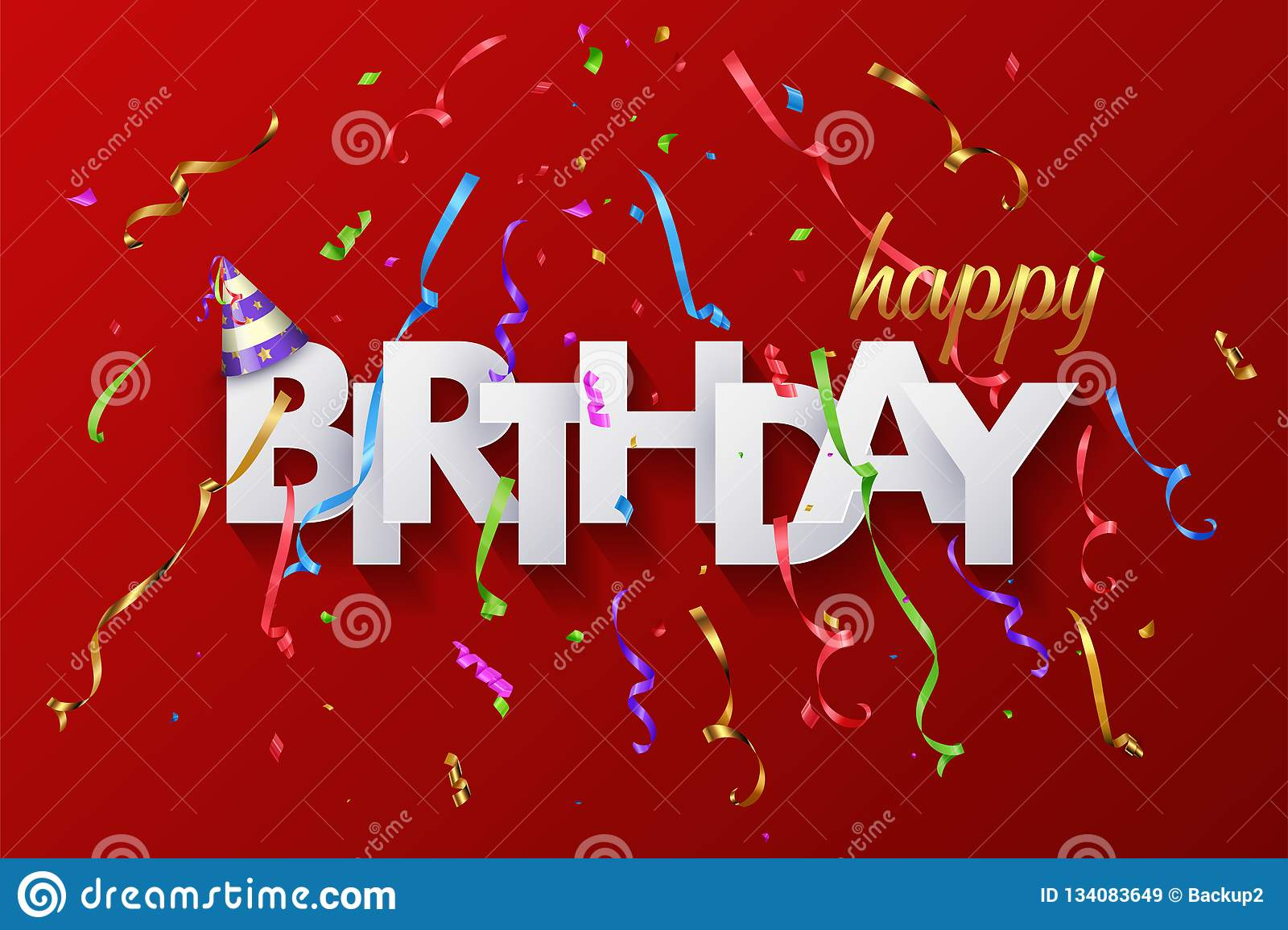 Happy Birthday Greeting Card Design With Paper Cut Letters And Colorful Serpentine On Red Background Vector Stock Vector Illustration Of Festive Carnival 134083649