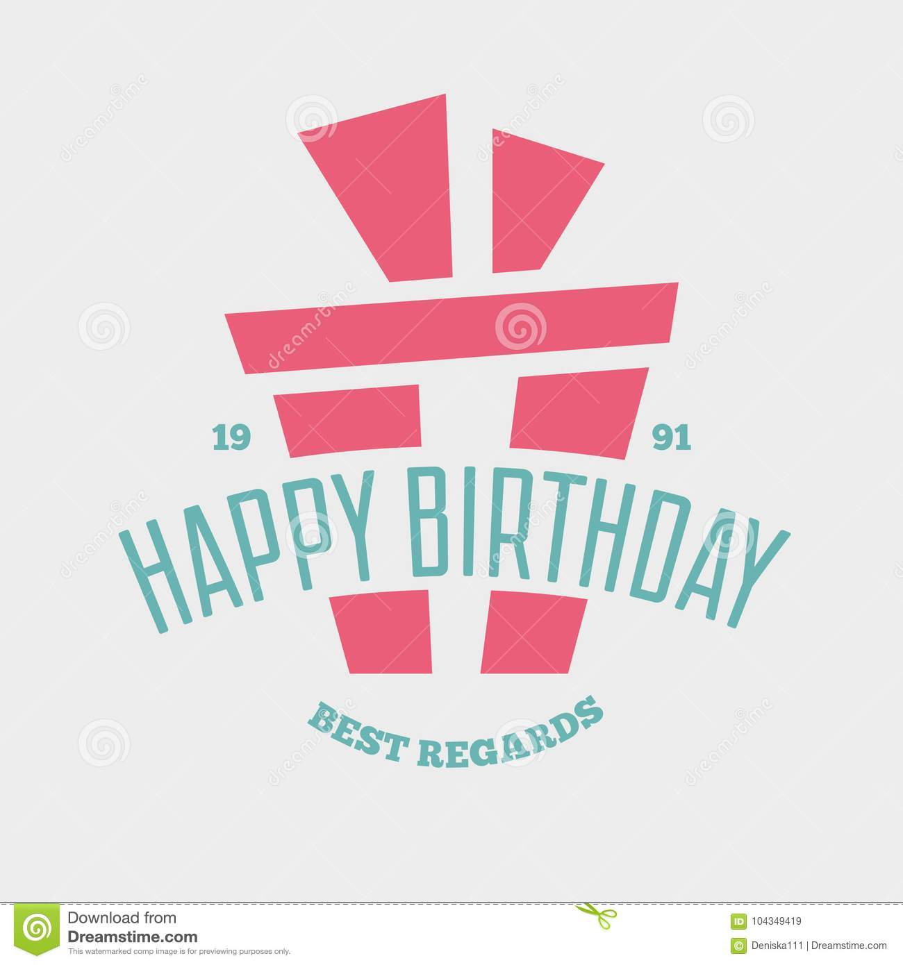 Happy Birthday Greeting Card Design Vector Template Badge Or Label And Decoration Elements