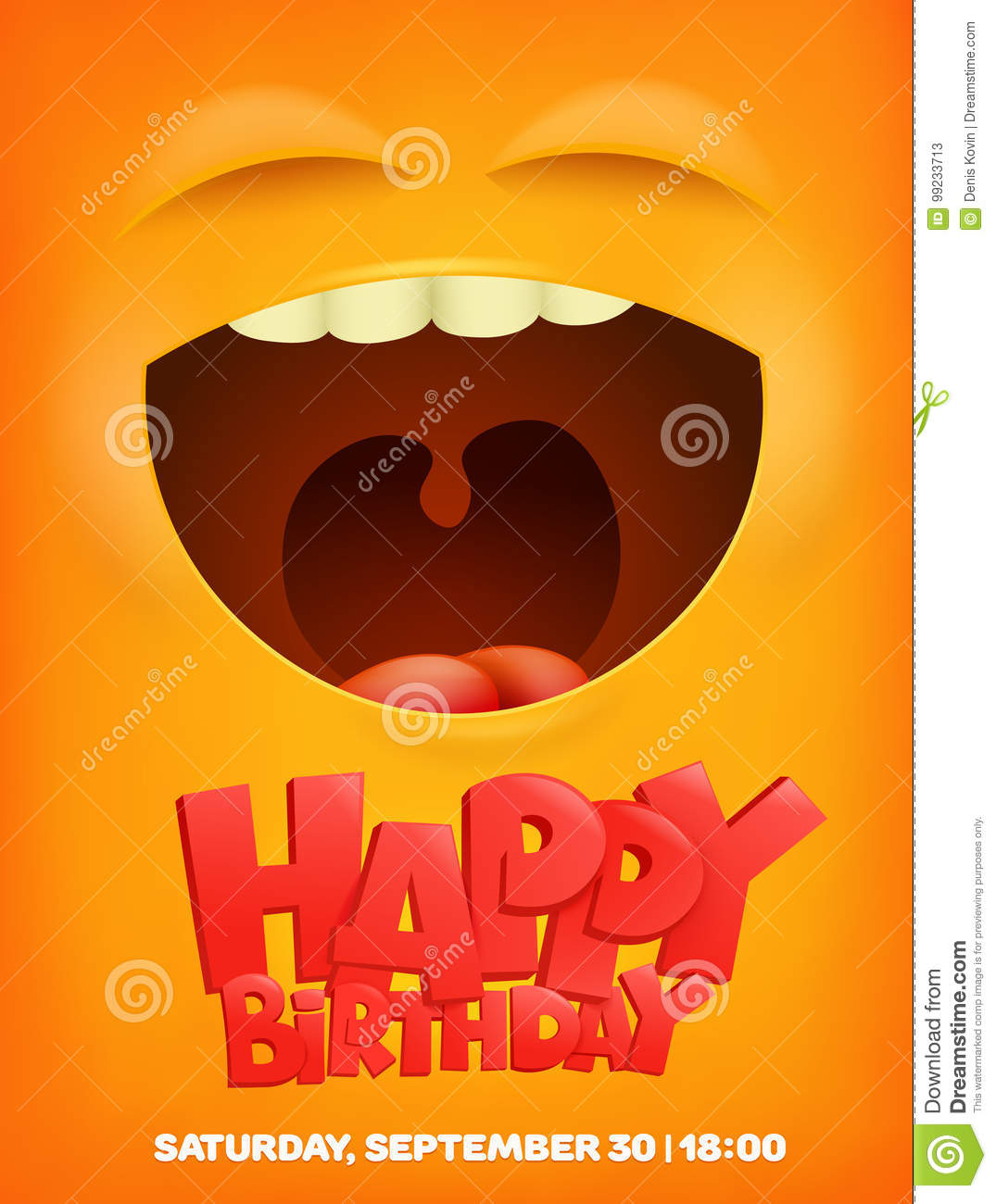 Happy Birthday Greeting Card With Emoji Smile Face